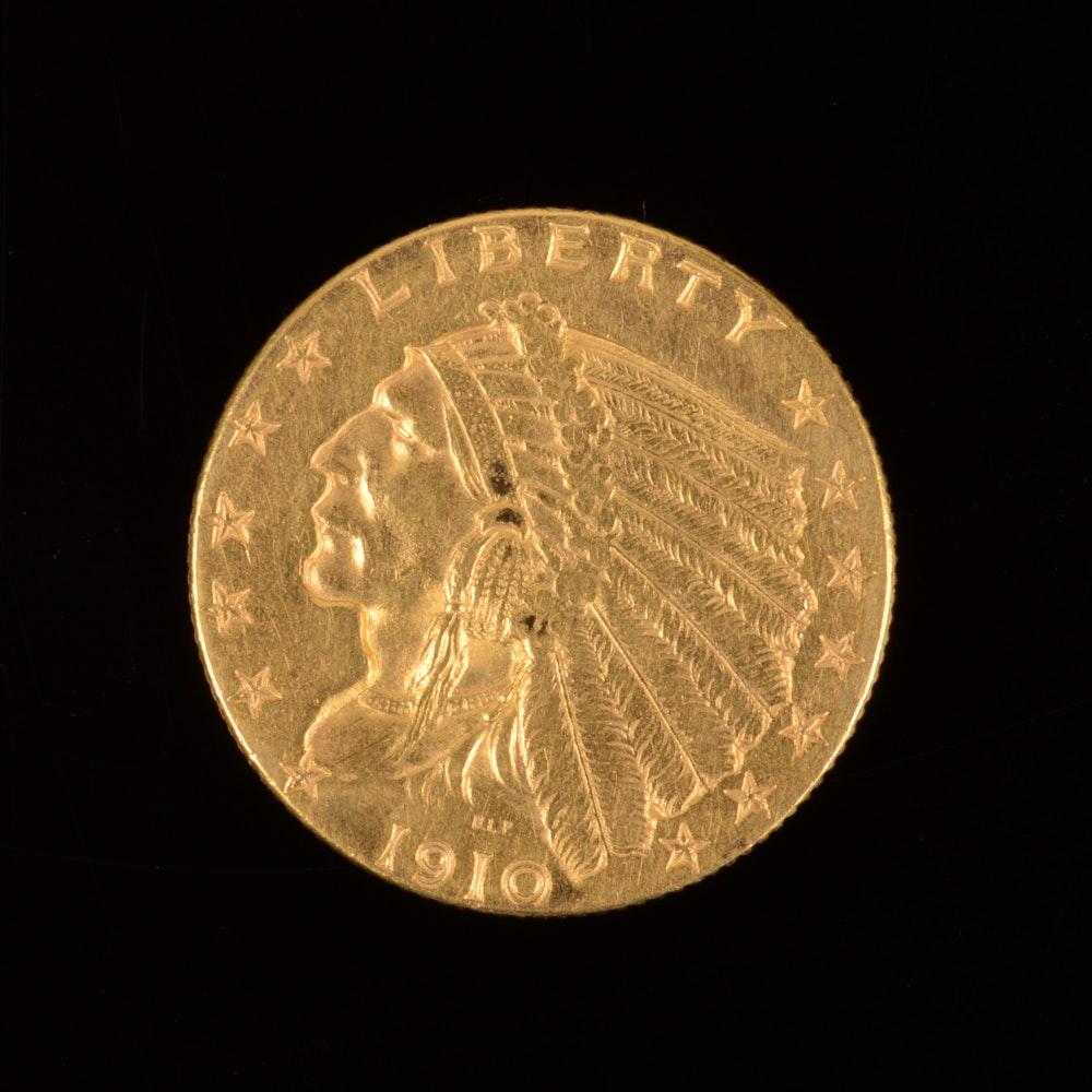 1910 Indian Head Gold $2.50 Quarter Eagle Coin