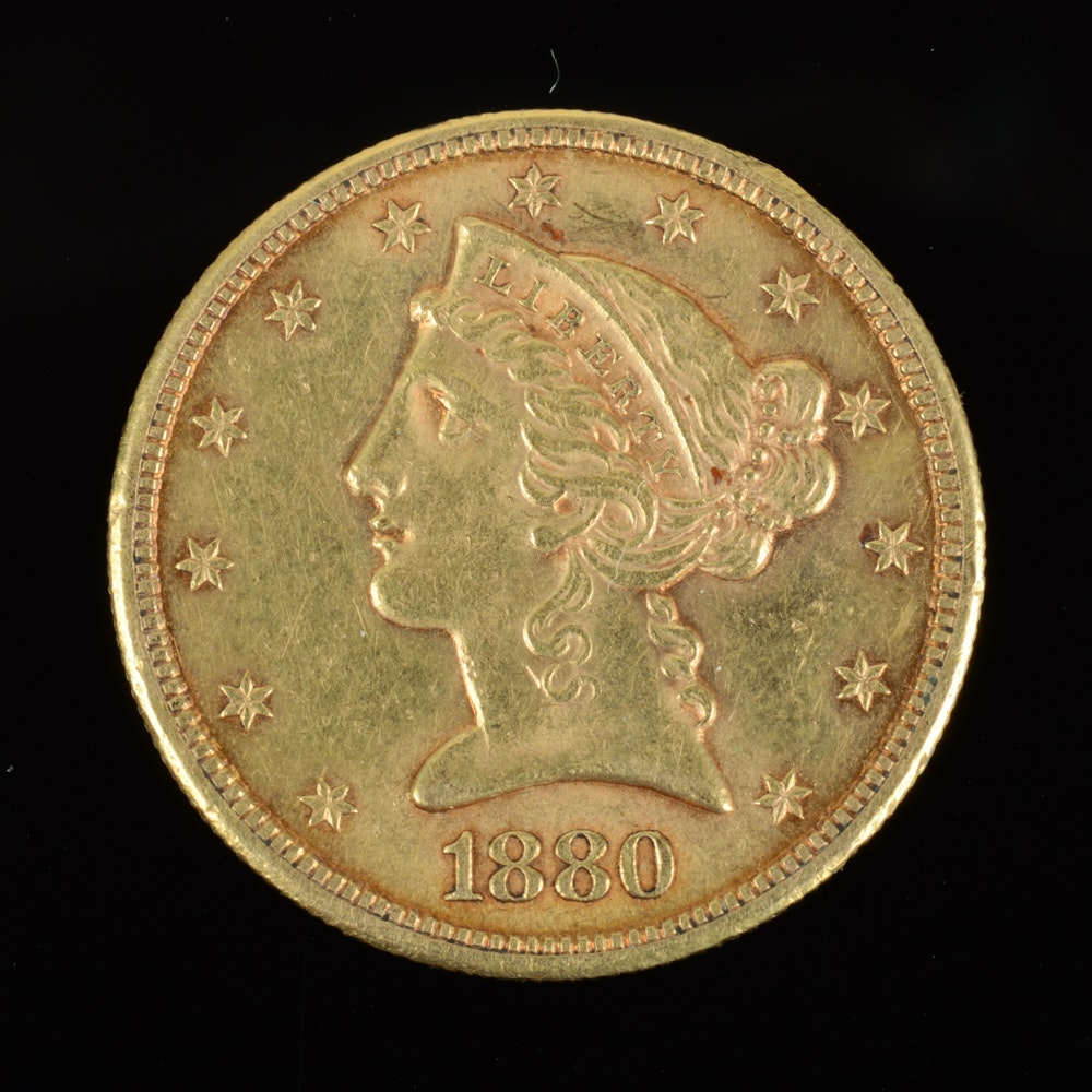 1880-S Coronet Head Gold $5 Half Eagle Coin