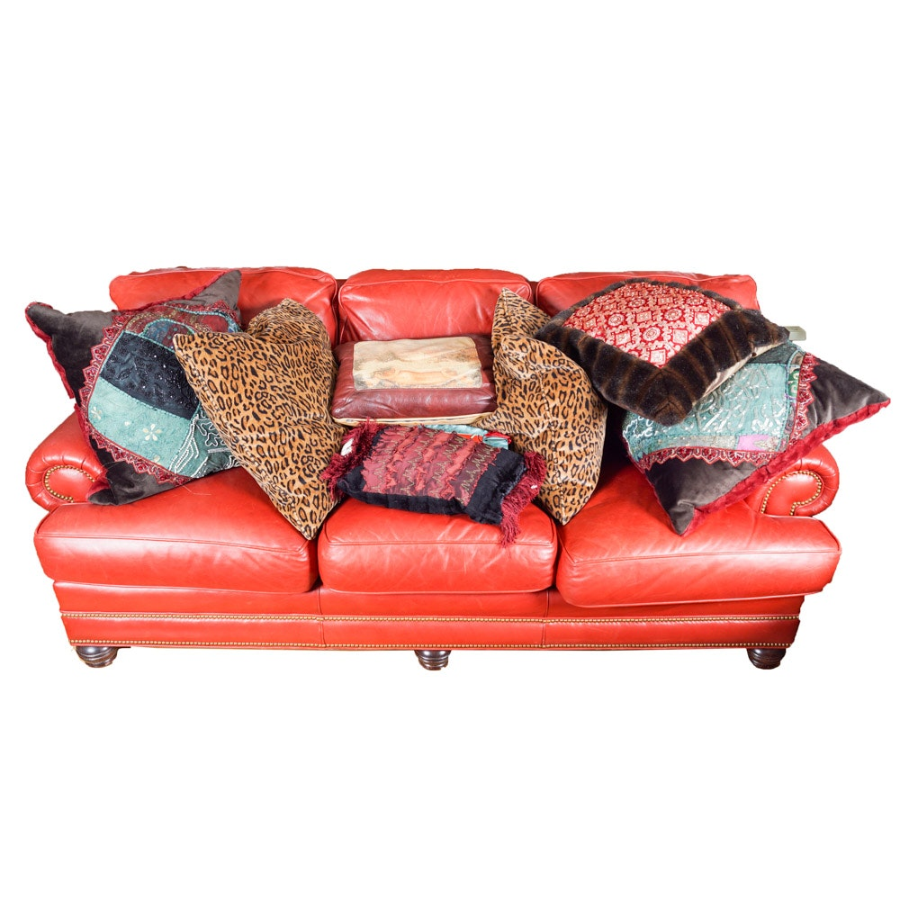 Whittemore-Sherrill Red Leather Couch with Throw Pillows