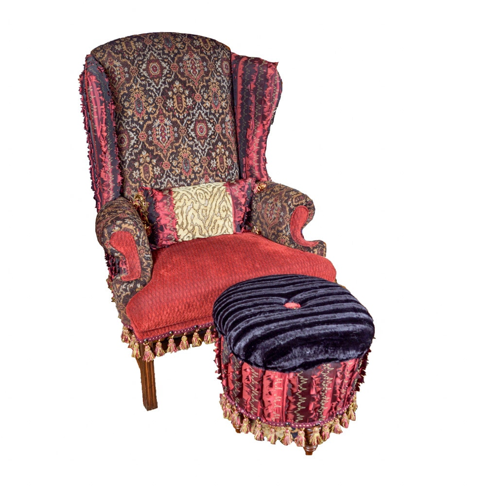Upholstered Wing Chair and Ottman