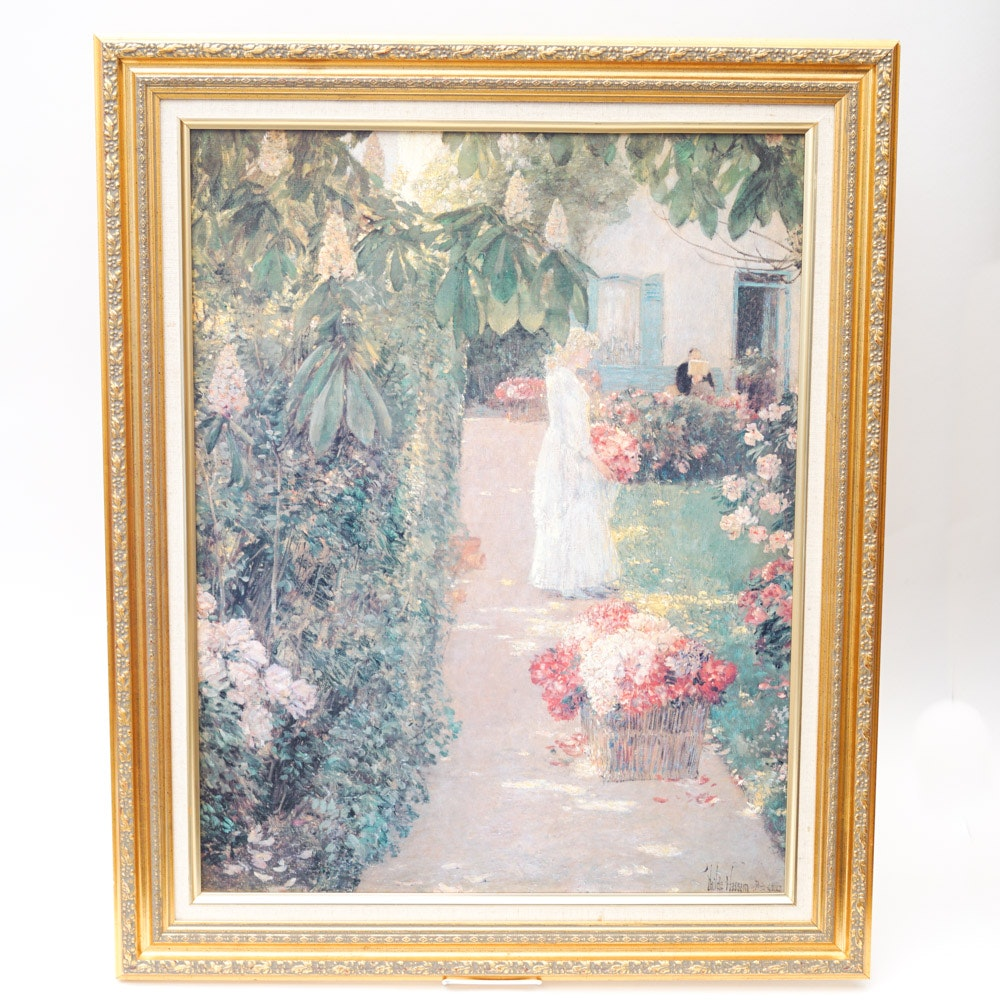 """After Childe Hassam Print """"Gathering Flowers in a French Garden"""""""