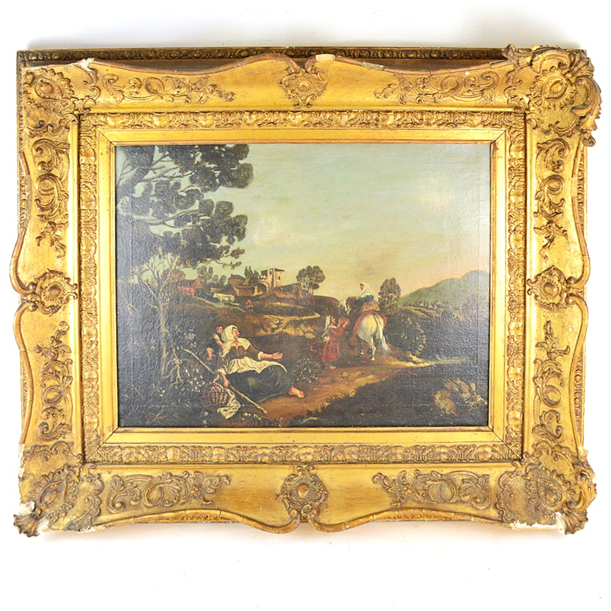 Framed Antique Oil Painting on Canvas