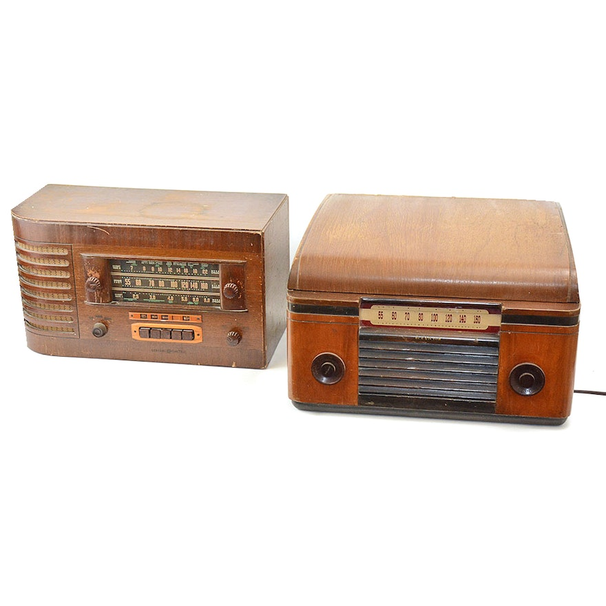 RCA Victor Turntable Receiver and General Electric Radio