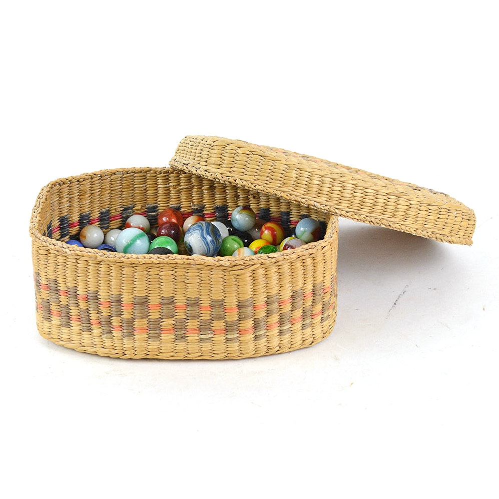 Woven Basket with Marble Collection