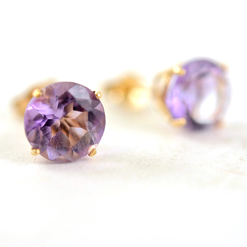 10K Gold and Amethyst Stud Earrings