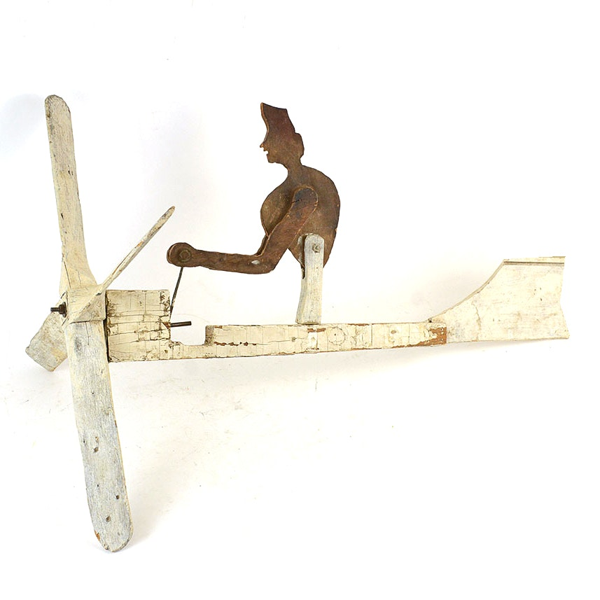 Vintage Wooden Airplane Weathervane