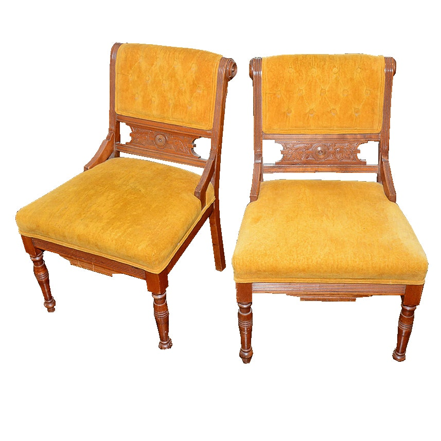 Late 19th Century Victorian Eastlake Upholstered Chairs