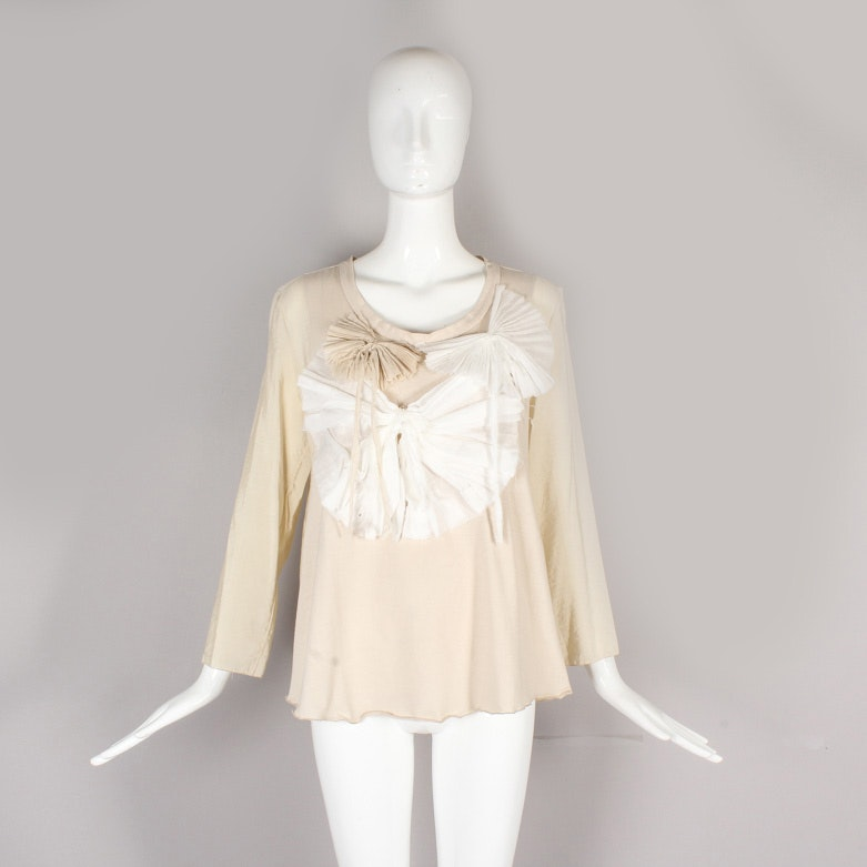 Marni Cream and Tan Blouse with Pleated Appliqués