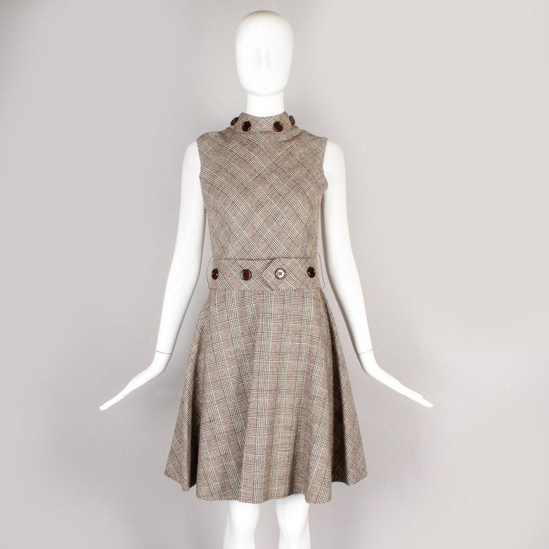Vintage Claret Plaid Wool Sleeveless Day Dress