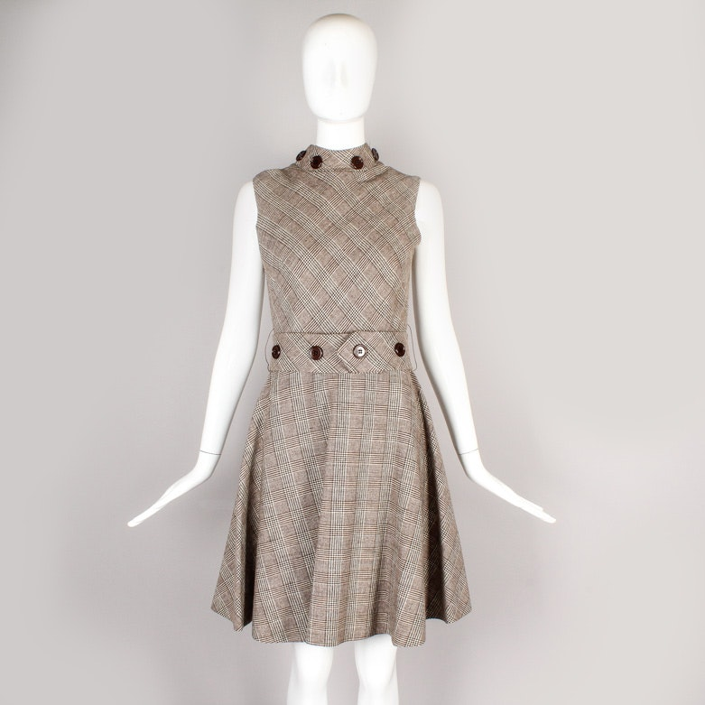 Vintage Claret Plaid Wool Sleeveless Day Dress
