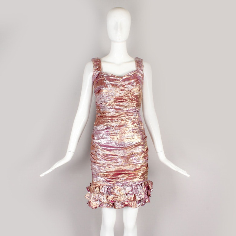 Vintage  Ungaro Sleeveless Ruched Metallic Cocktail Dress