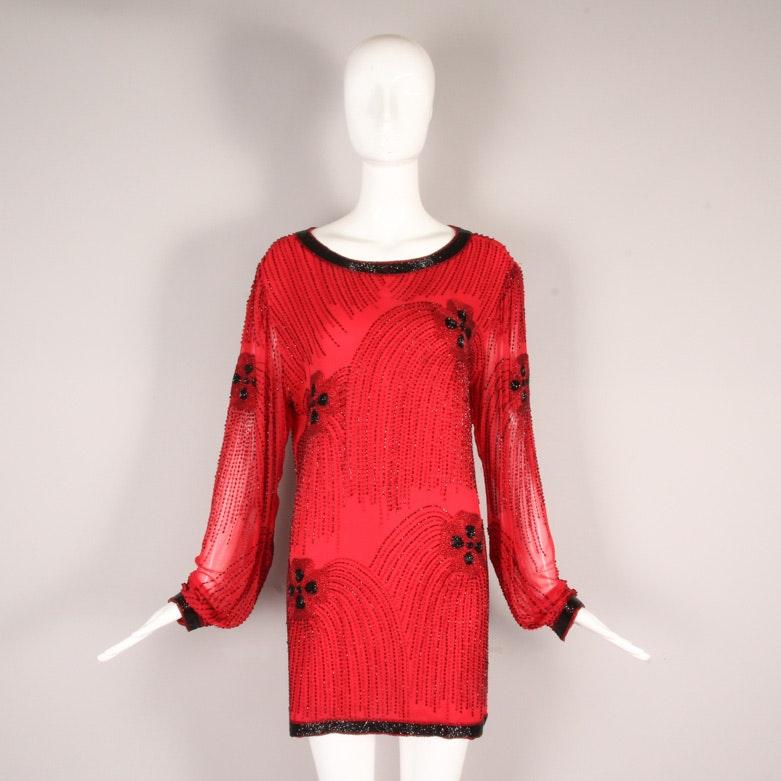 Vintage Oleg Cassini Red Silk Beaded Tunic Blouse