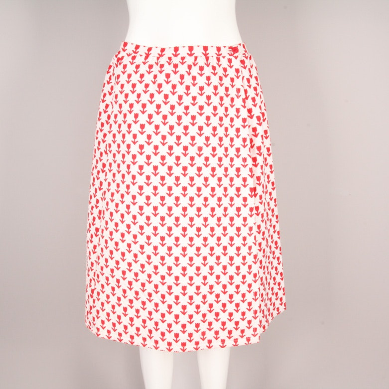 1970s Givenchy Tulip Print Cotton Pique Wrap Skirt