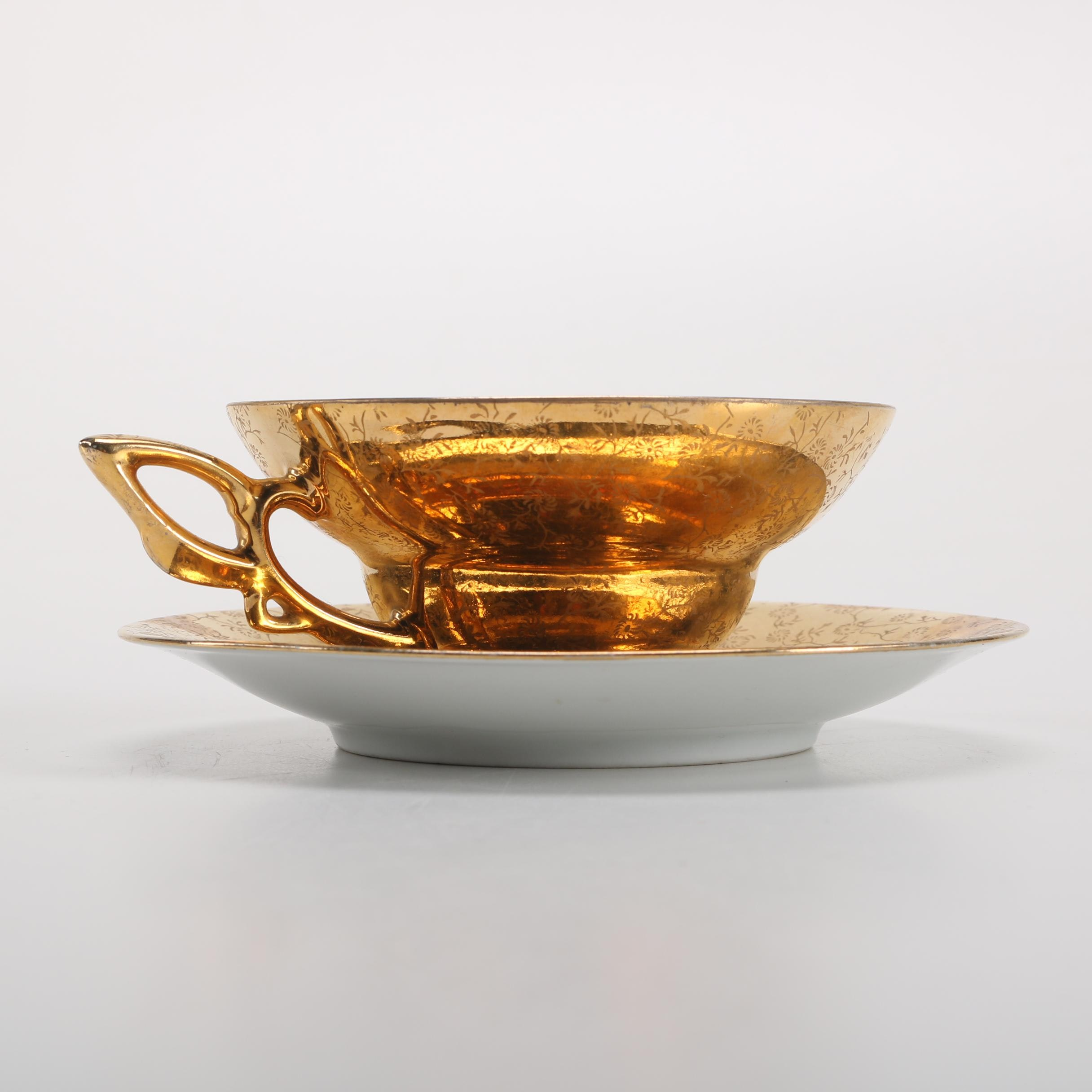 Plankenhammer Floss Gold-Plated Porcelain Teacup and Saucer