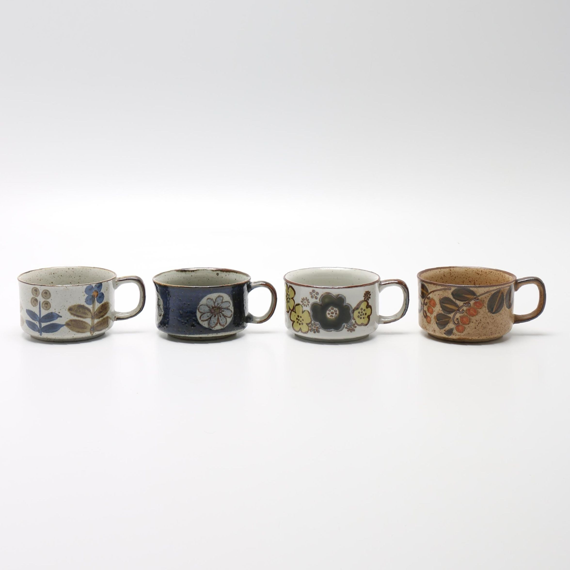 Handmade Floral Stoneware Soup Mugs