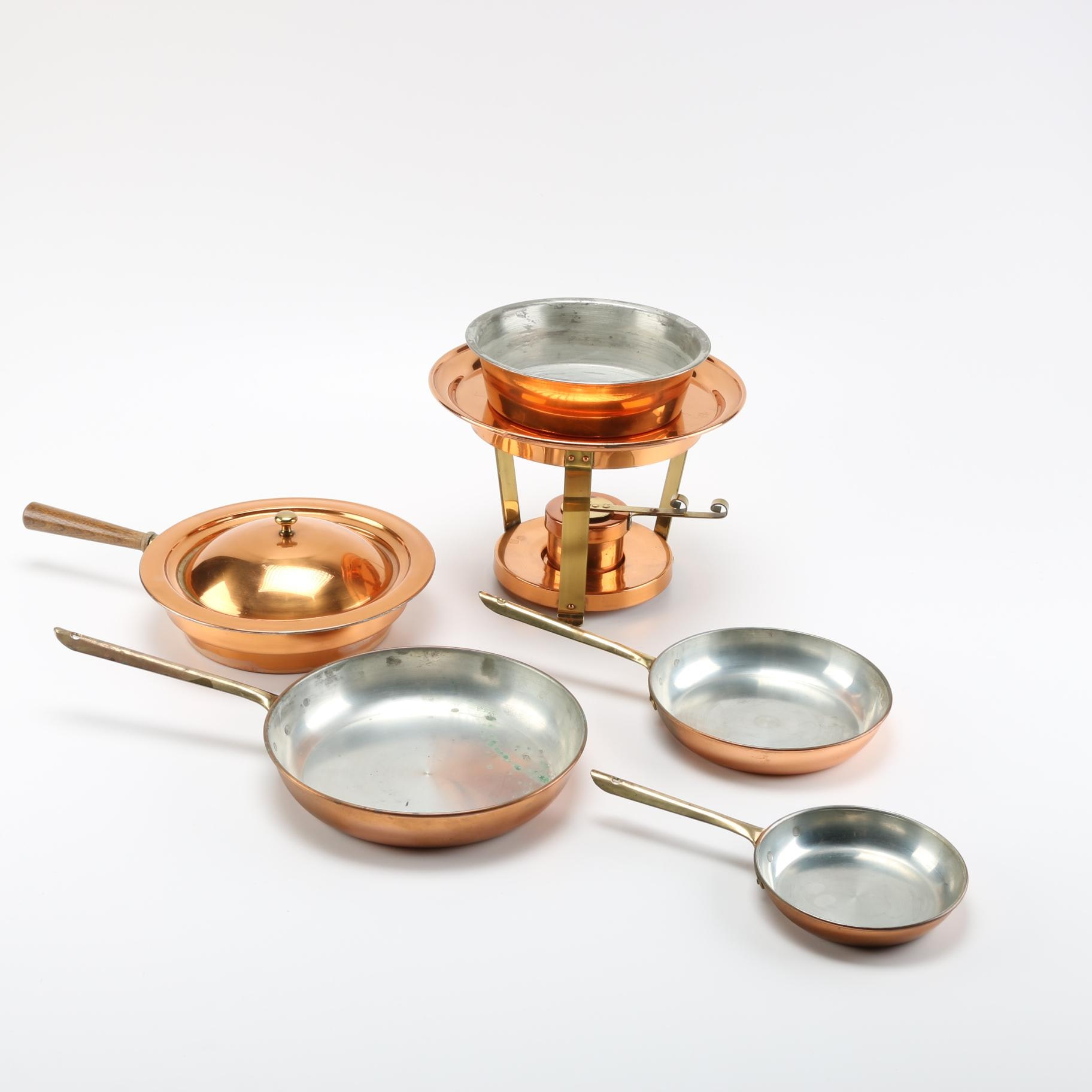 Collection of Copper Kitchenware Including a Warming Dish