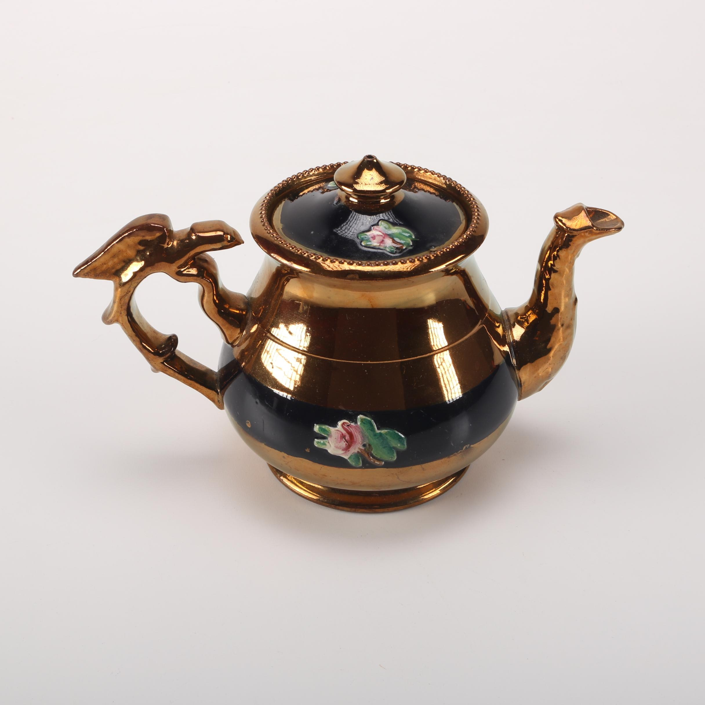 Copper Lusterware Teapot with Floral Reliefs