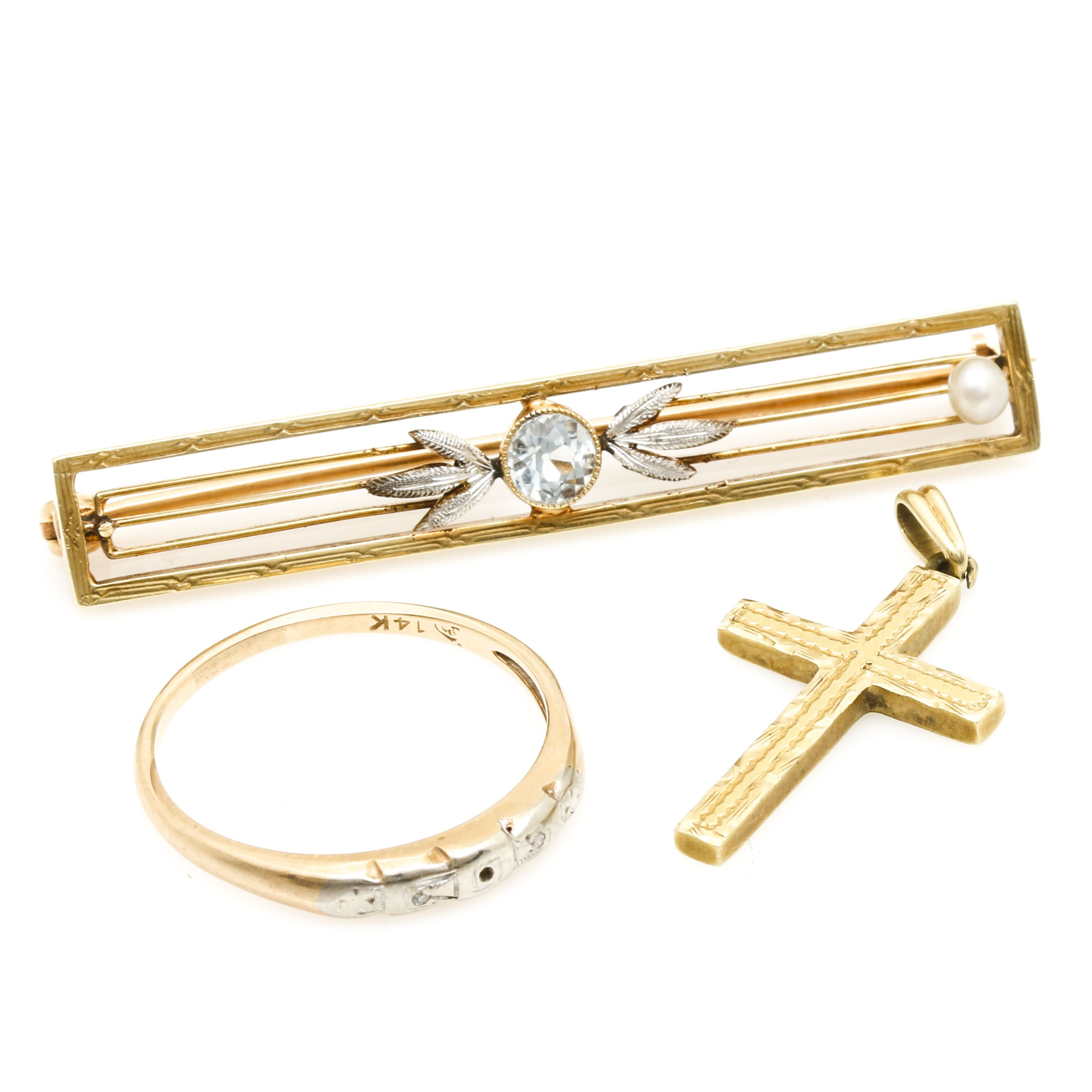 14K Yellow Gold Jewelry Including Diamonds and Aquamarine