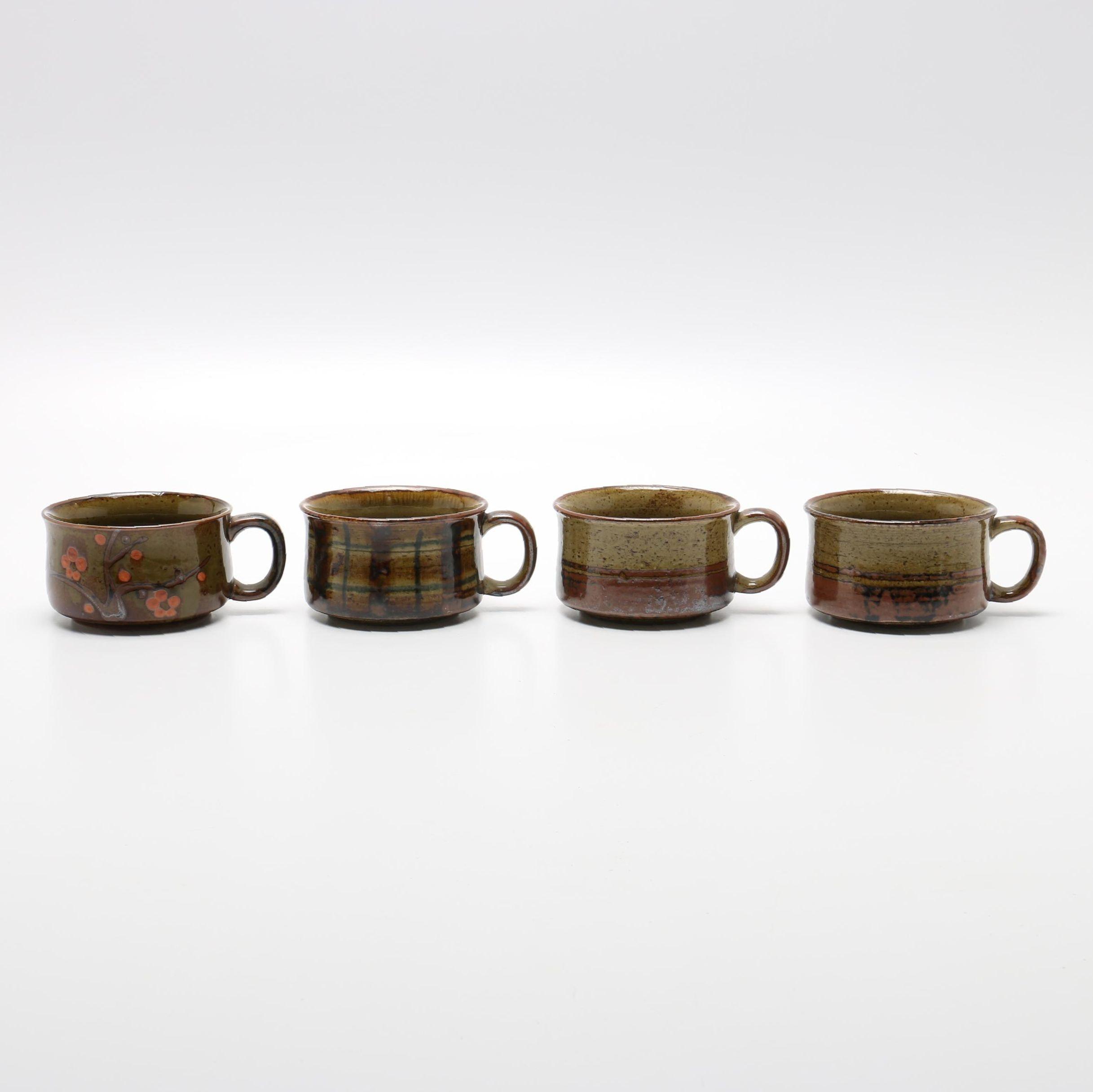 Handmade Brown Stoneware Soup Mugs