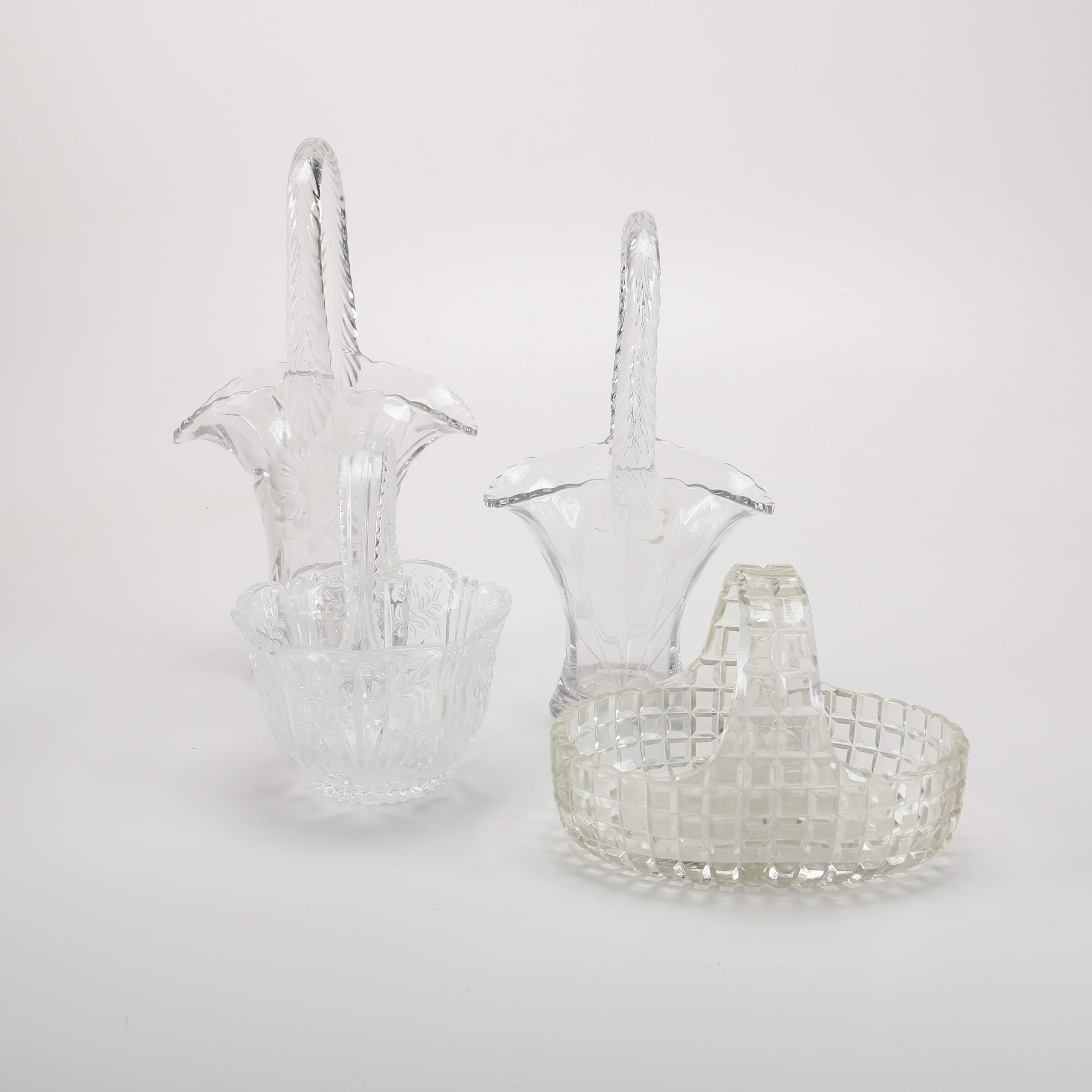 Clear Glass Flower Baskets