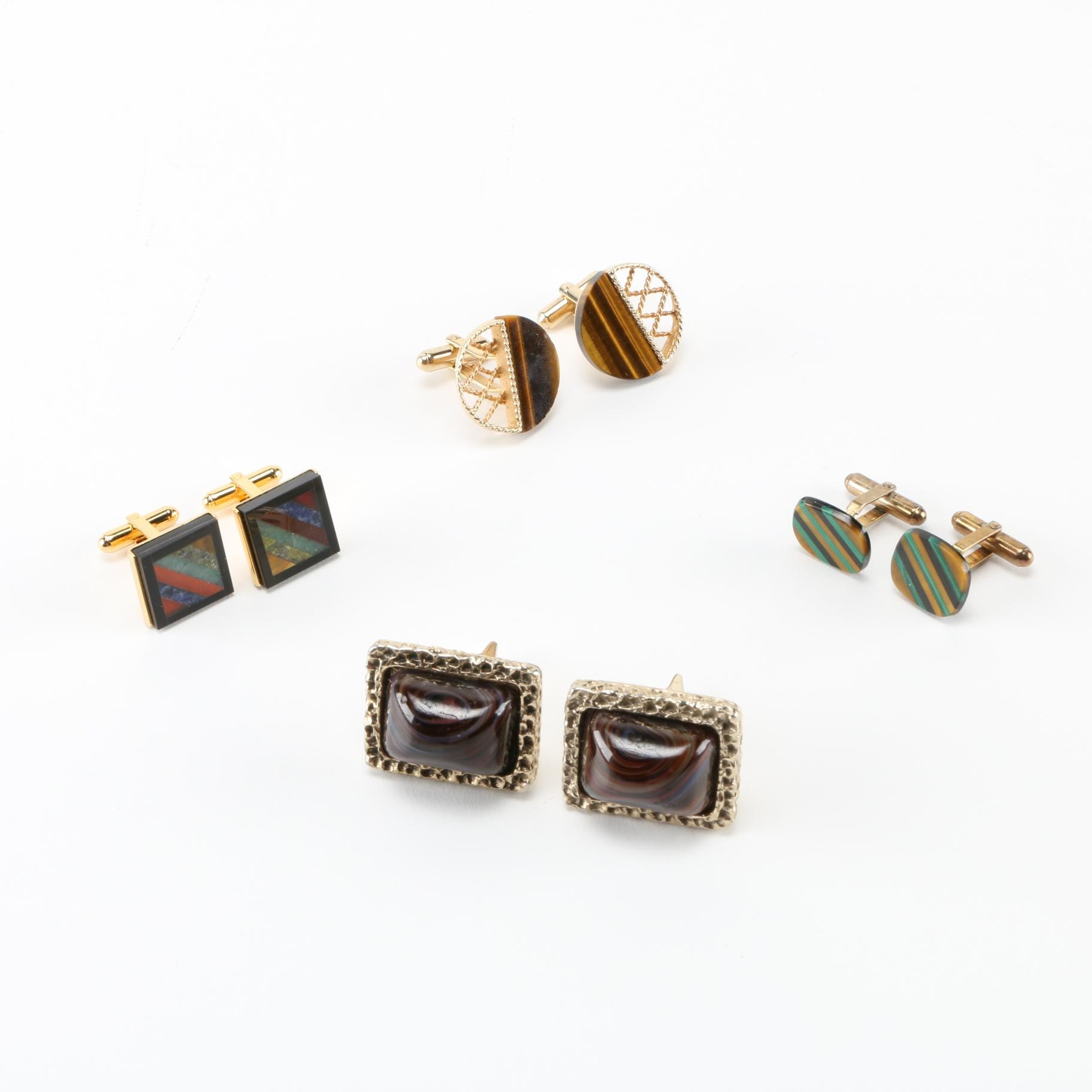 Assortment of Gold Tone Cufflinks With Stones