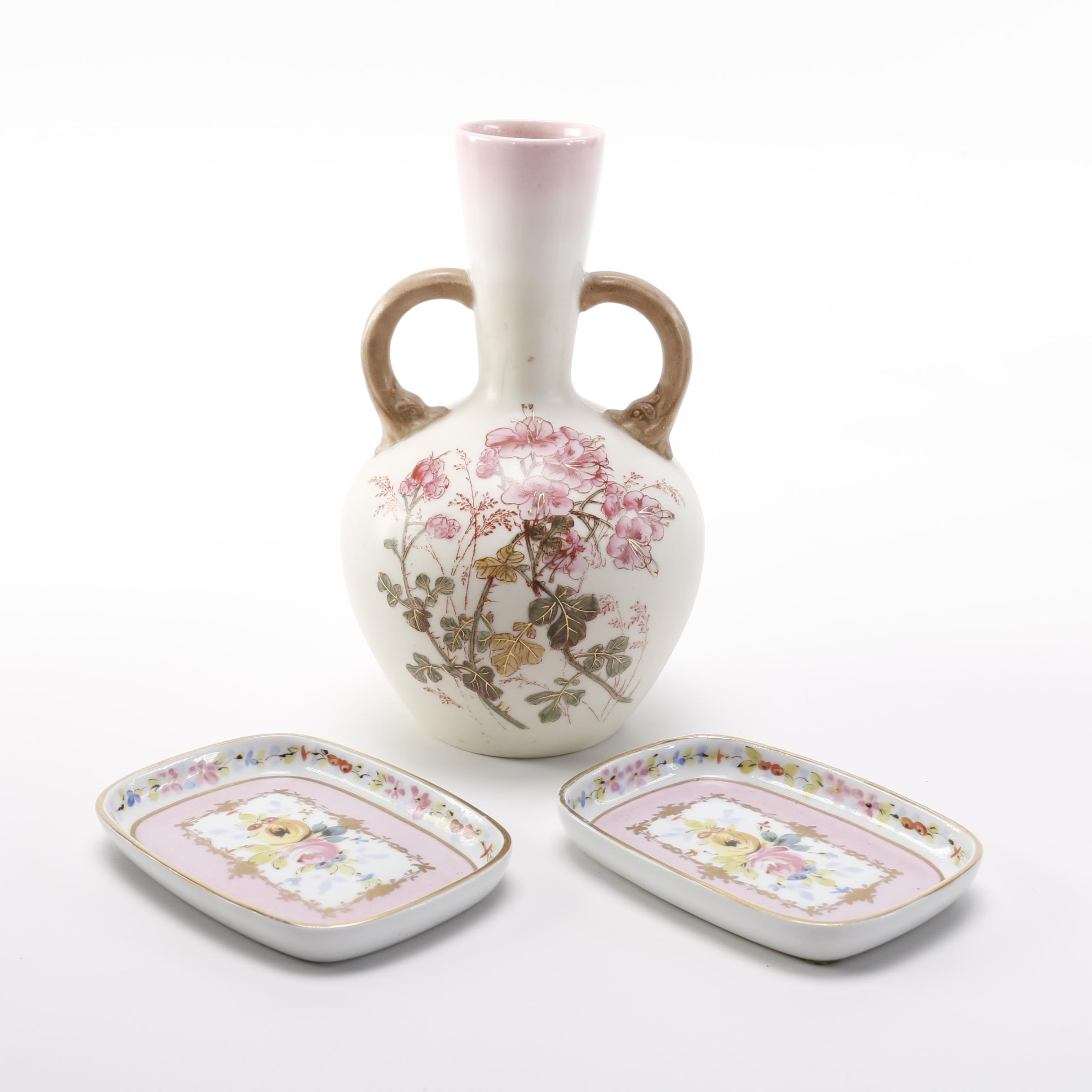 Hand-Painted Ceramic Floral Vase and Rectangular Dishes