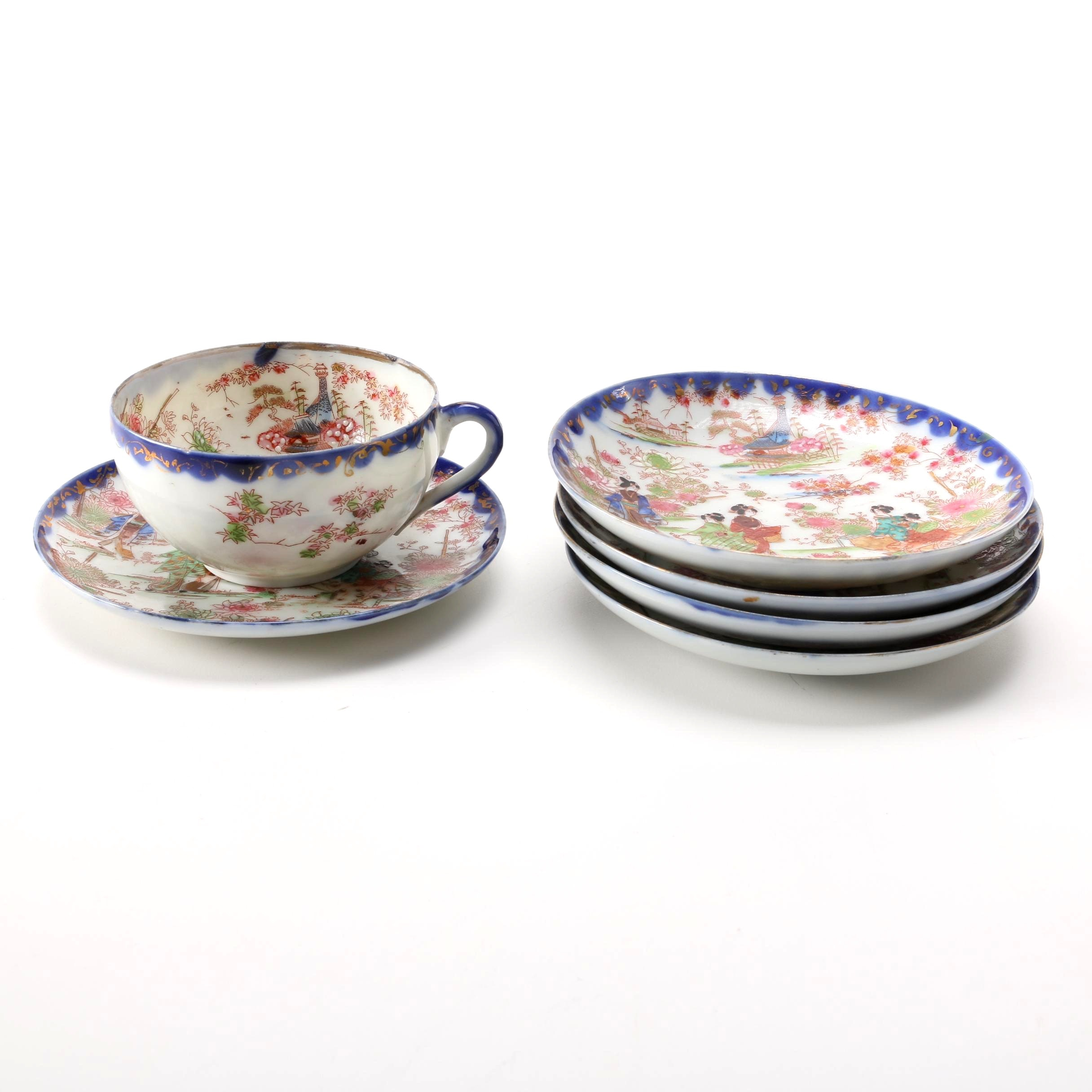 Hand Painted Japanese Saucers and Teacup