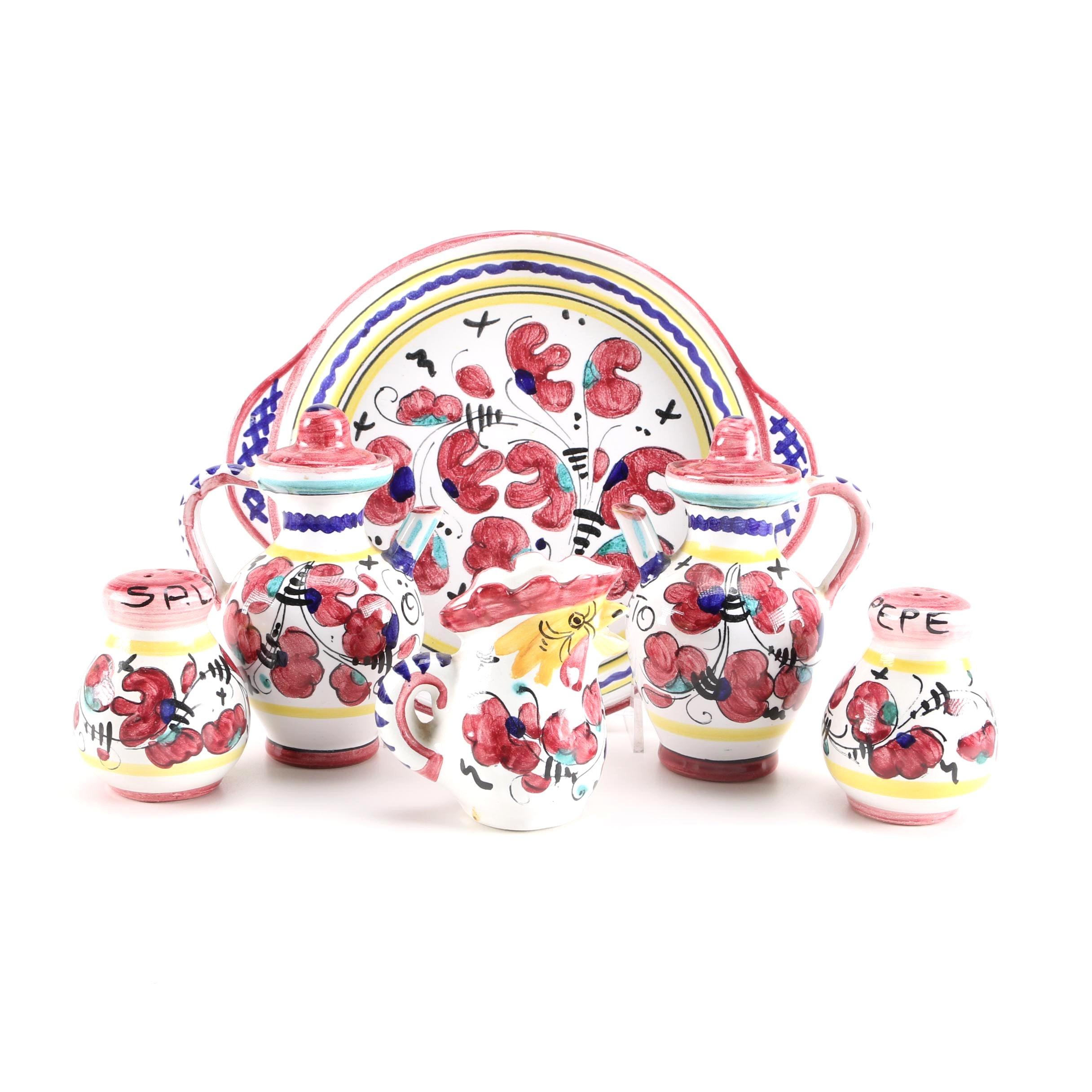 Deruta Italy Red Gallo Handpainted Serving Set