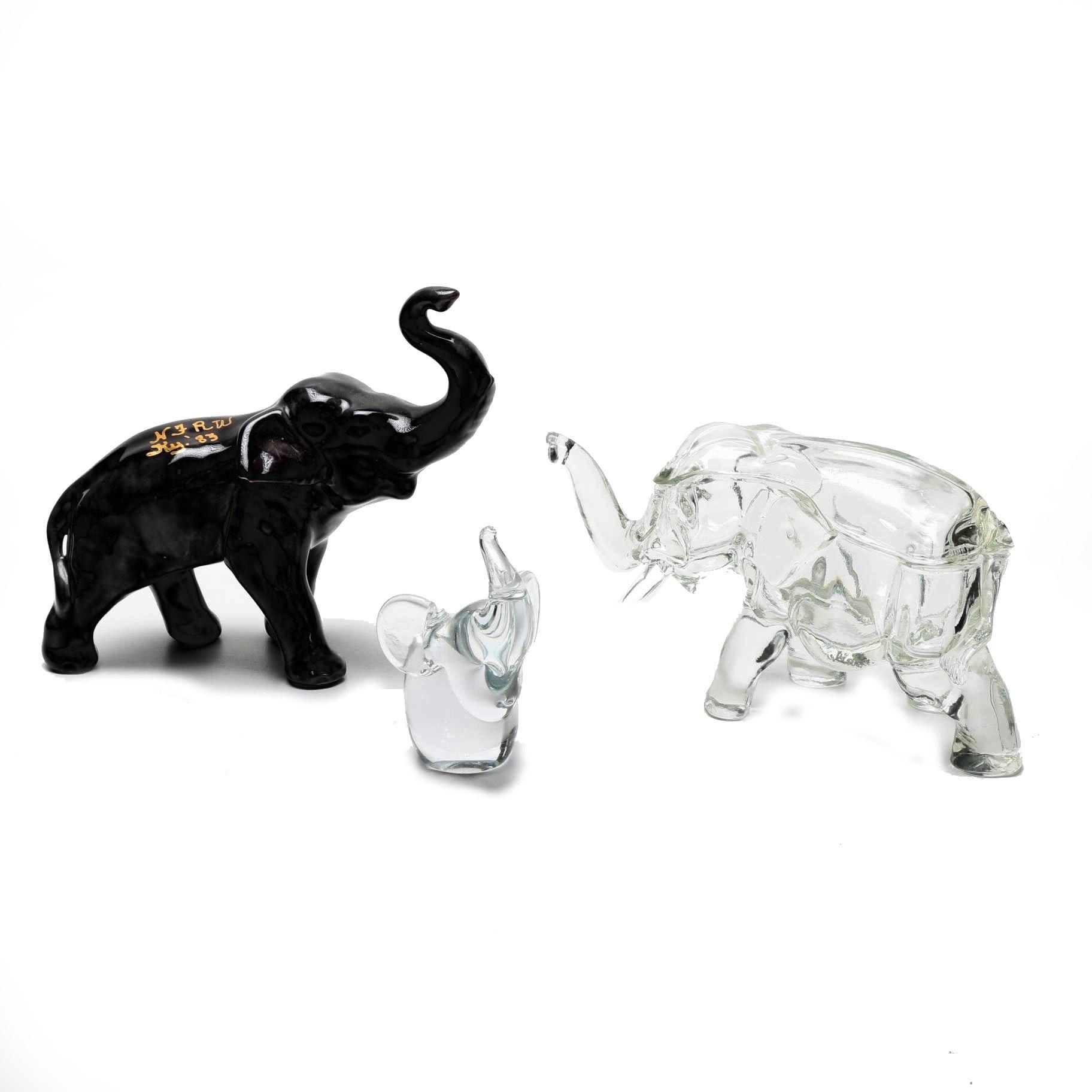 Glass and Ceramic Elephant Figurines