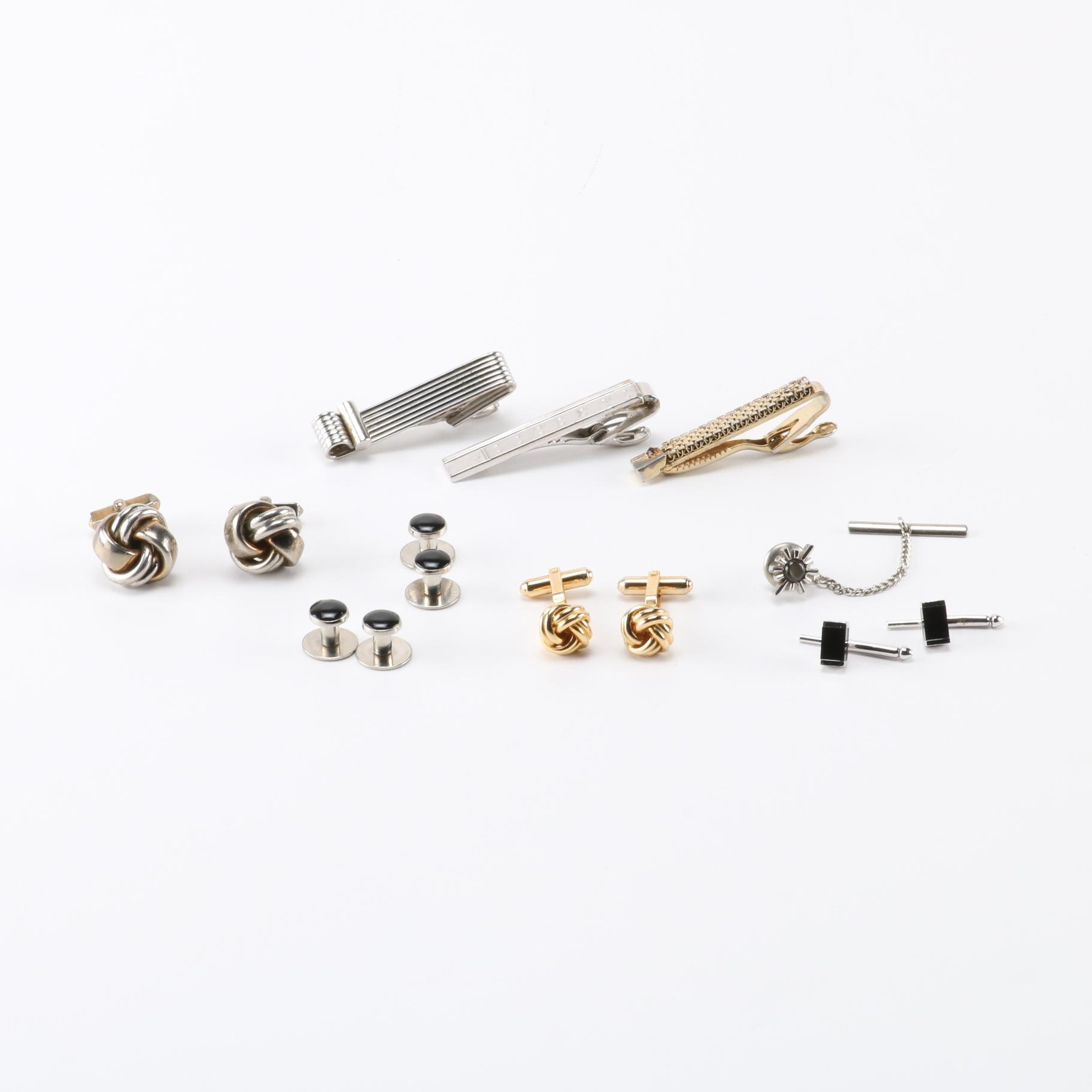 Cufflinks, Tie Clips, and Shirt Studs Including Speidel and Swank