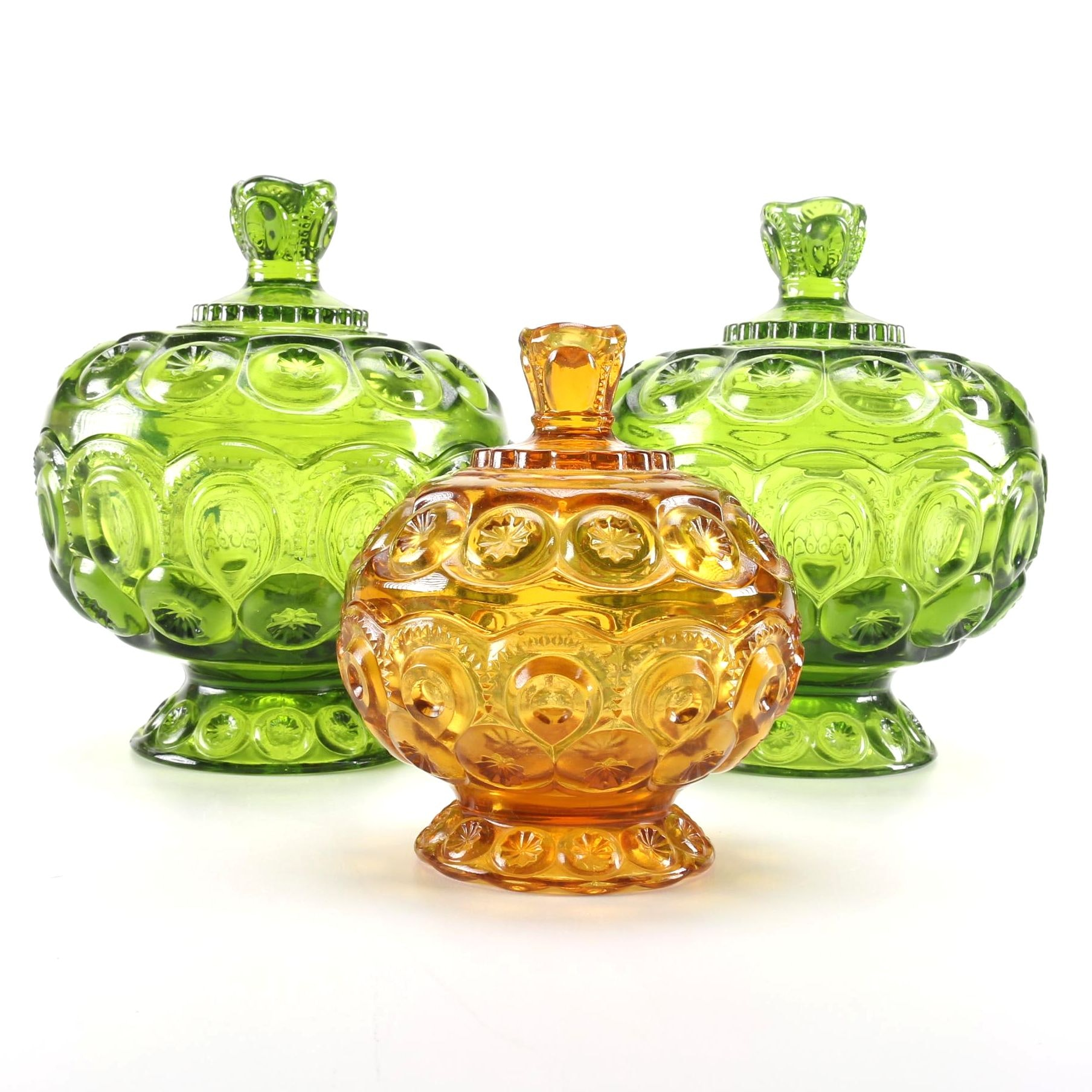 Set of Colored Glass Lidded Dishes