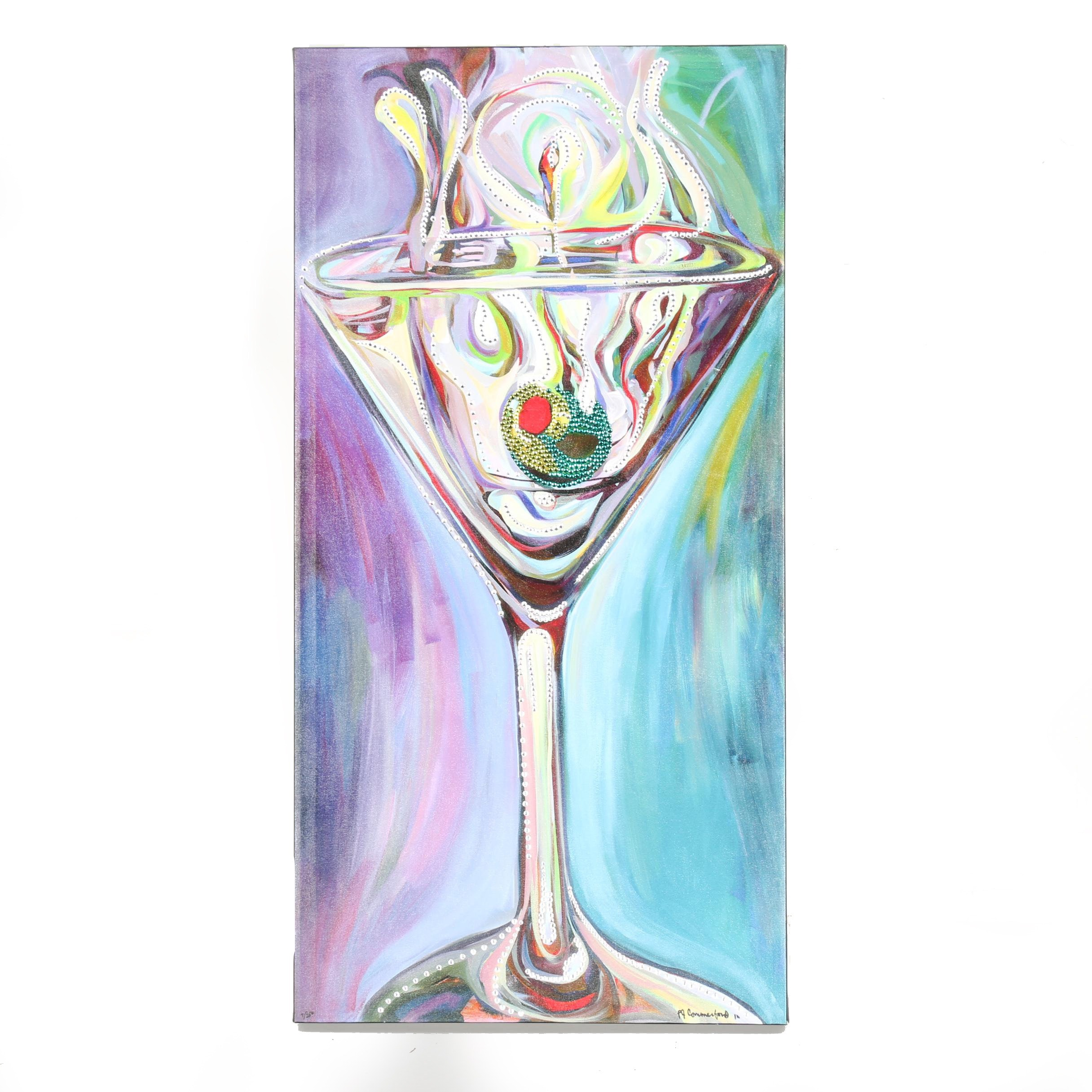 Limited Edition Giclée With Sequins of Martini Glass