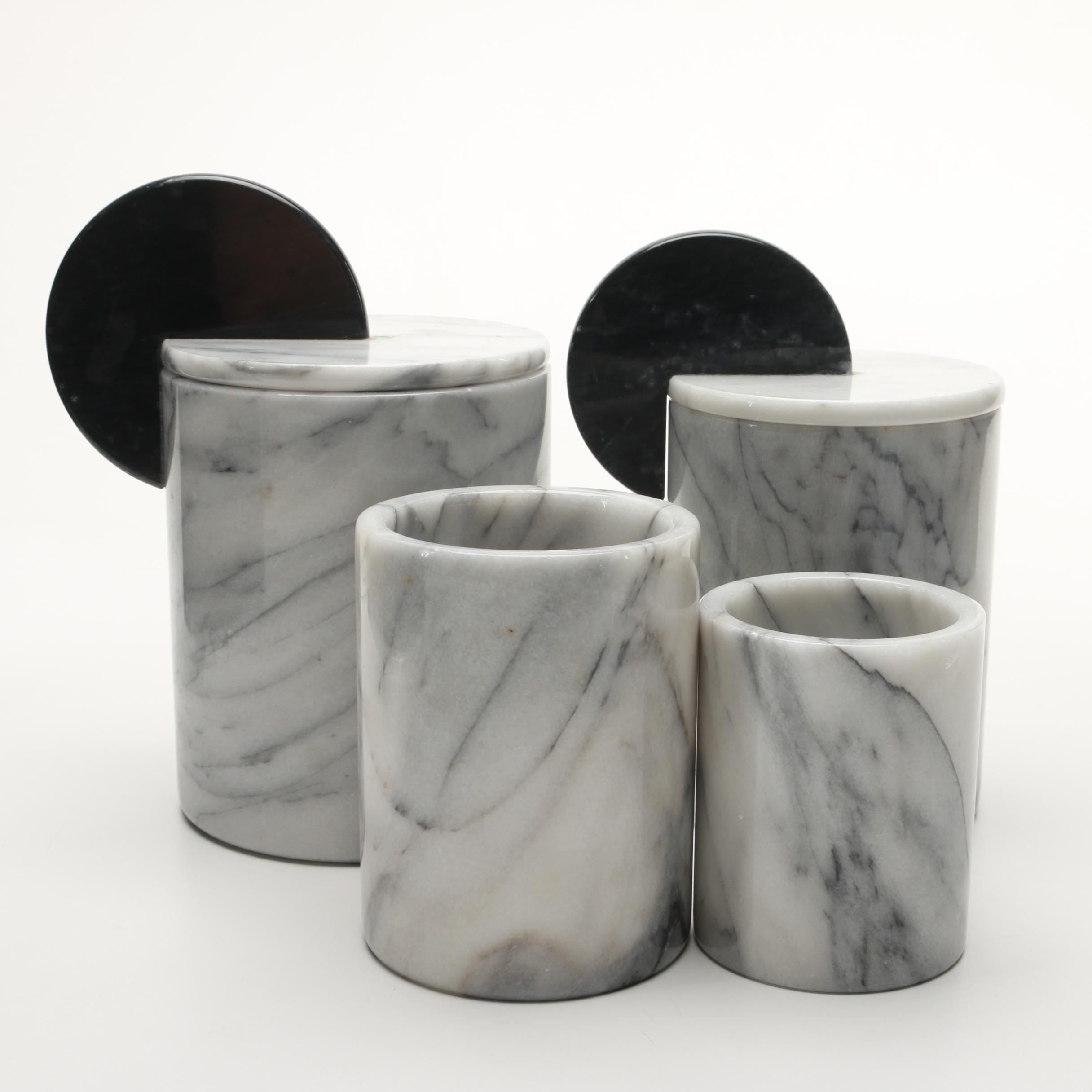 Marble Canisters with Lids