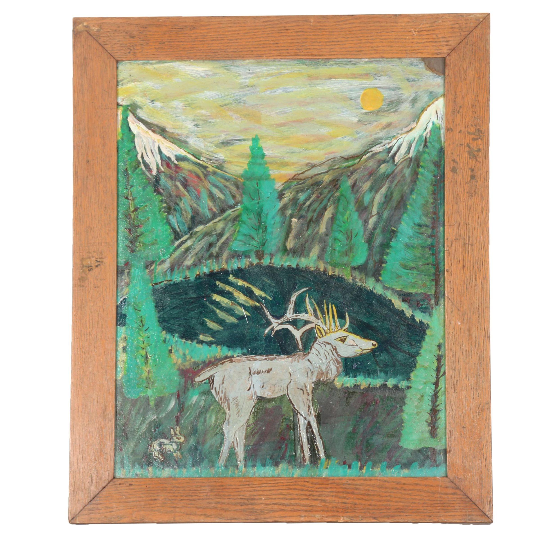 Original Oil on Masonite of Deer in Mountains