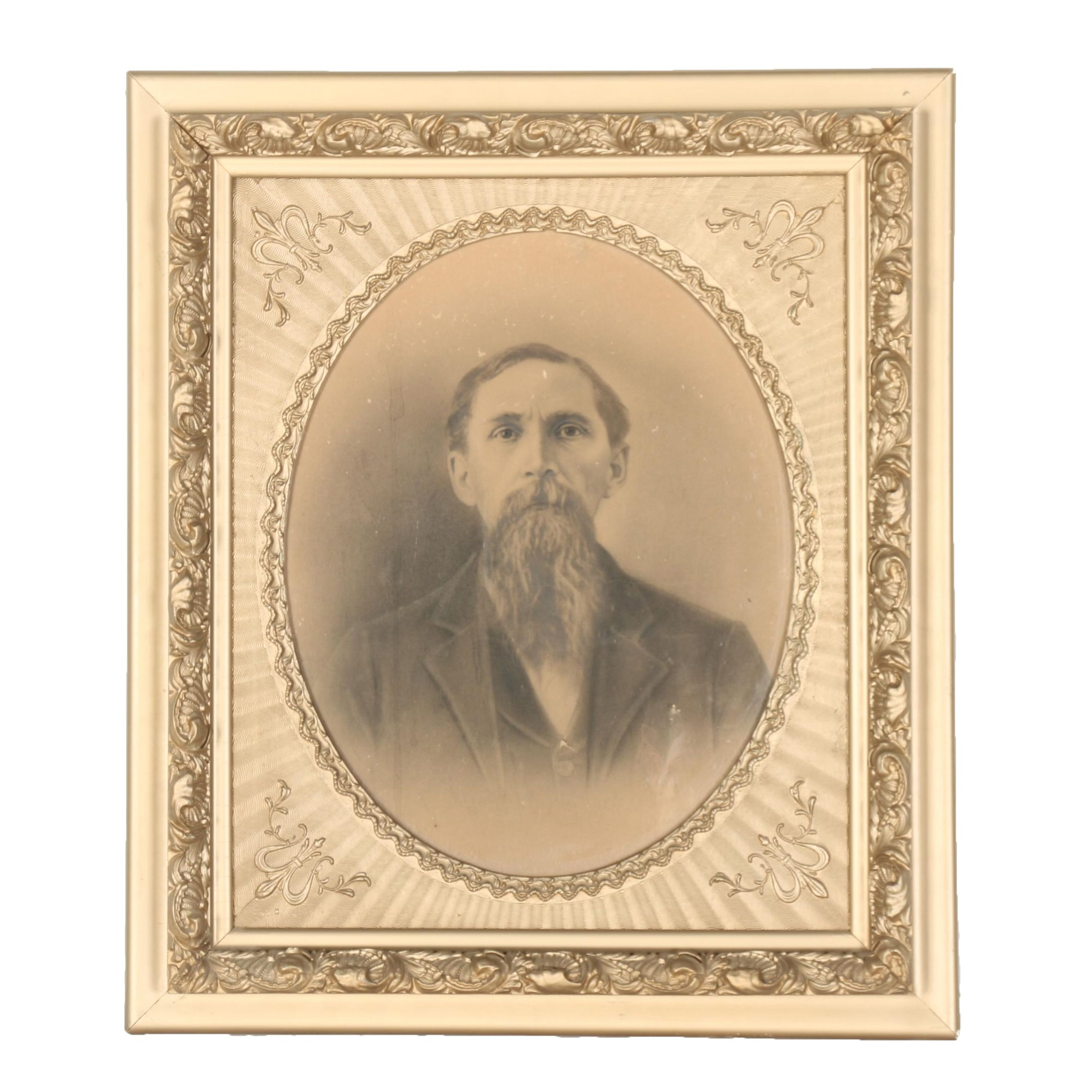 Framed Calotype Photographic Portrait of a Man