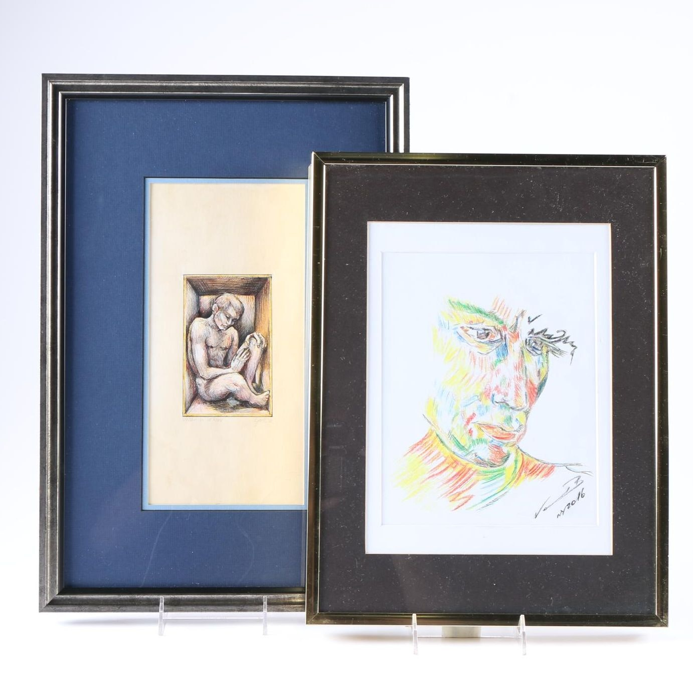 Framed Drawing and Print of Male Subjects
