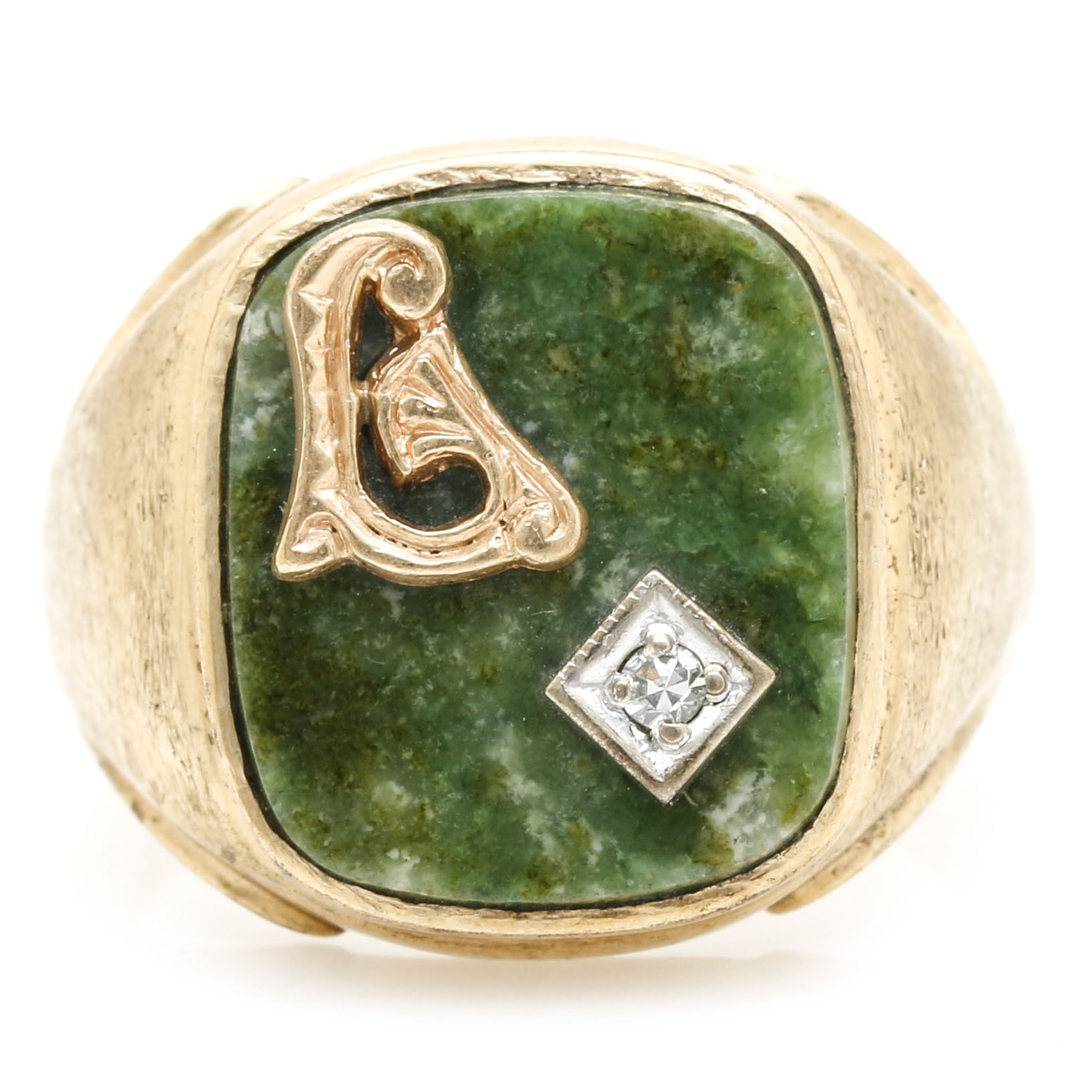 10K Yellow Gold Connemara Marble and Diamond Ring