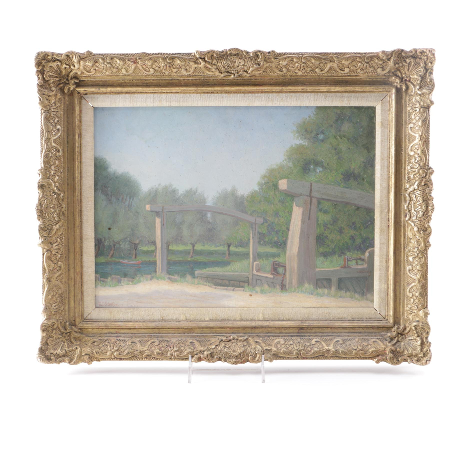 Charles J. Stokoe Oil Painting on Canvas Board of Landscape
