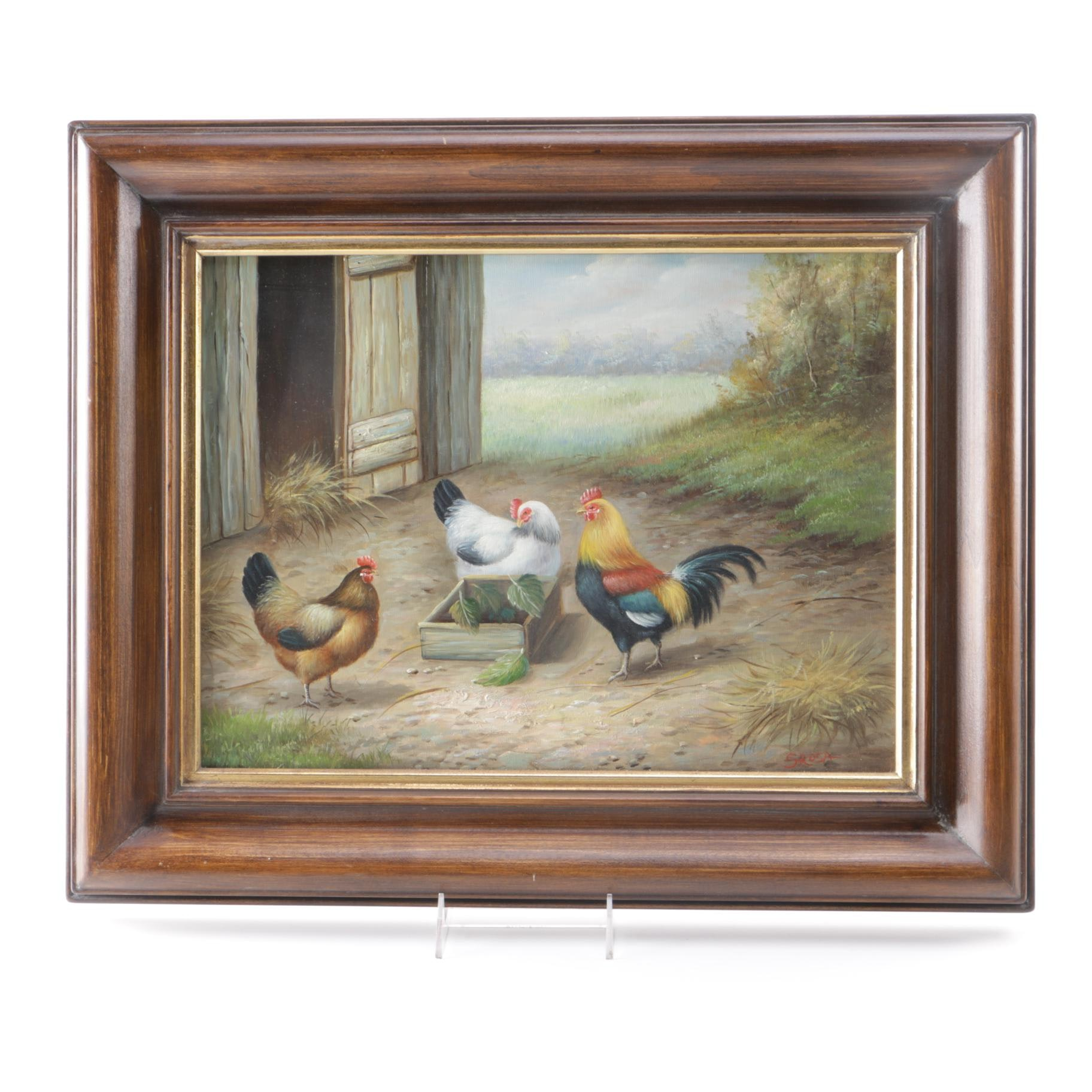 S. Rosa Original Oil on Canvas Pastoral Landscape with Chickens
