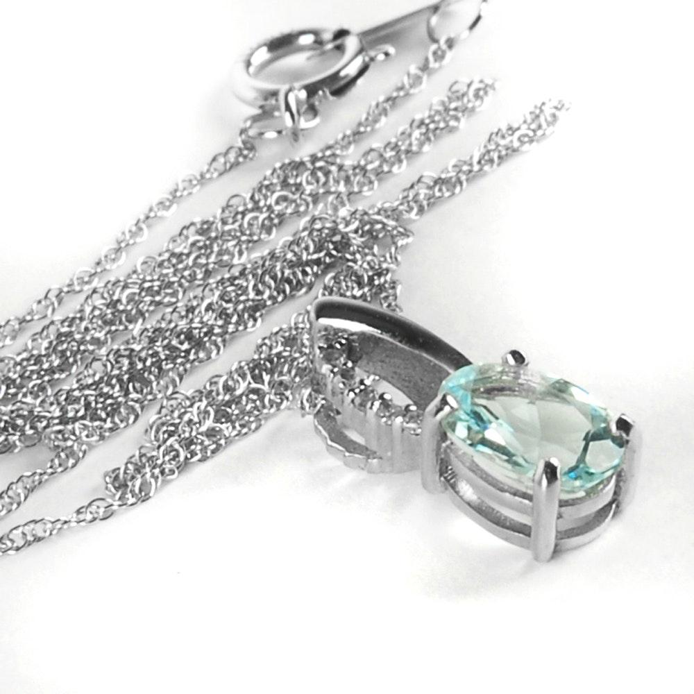 10K White Gold Diamond and Aquarmarine Necklace