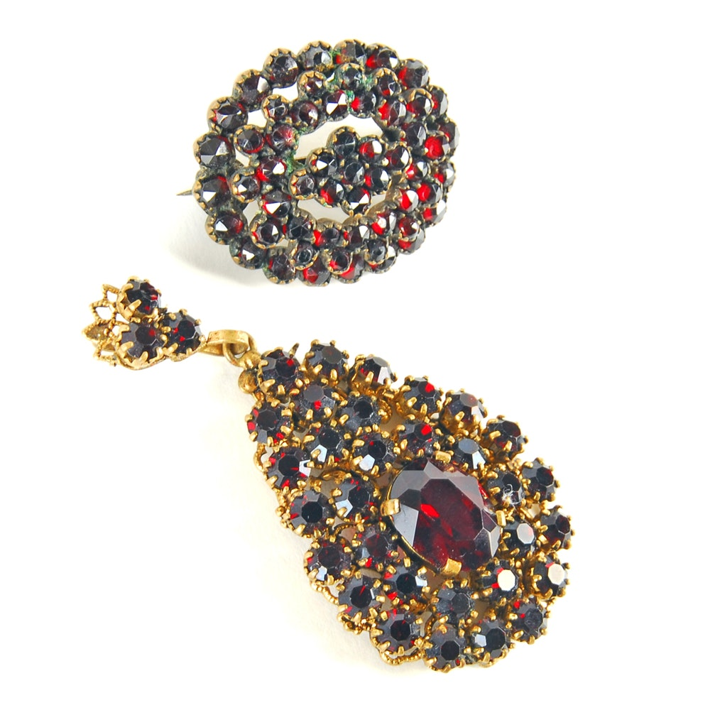 Silver Plated Garnet Pendant and Brooch