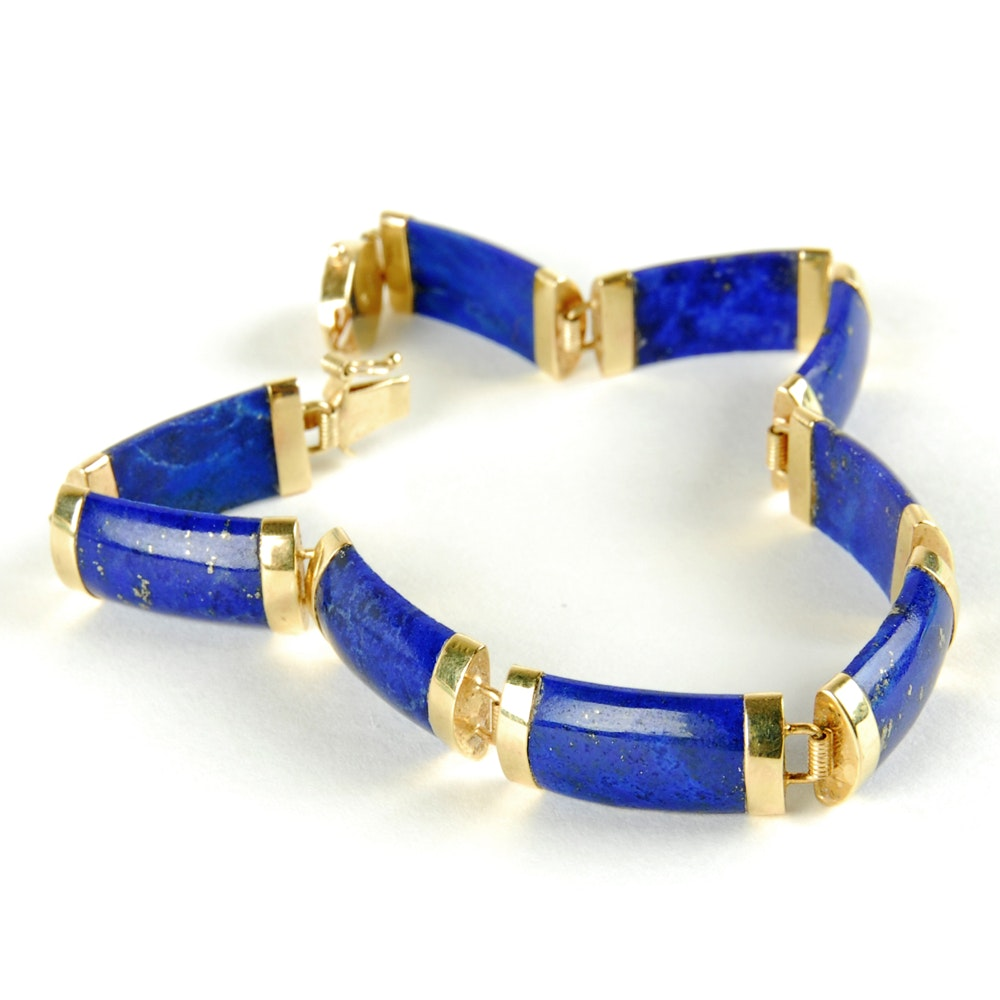 14K Yellow Gold Lapis Link Bracelet