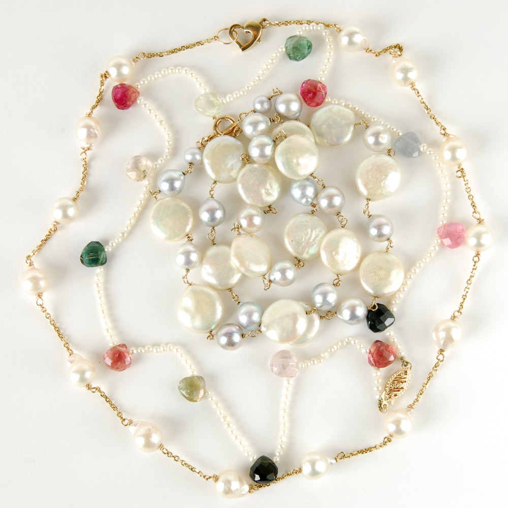 Three 14K Yellow Gold Pearl Necklaces Including Tourmaline
