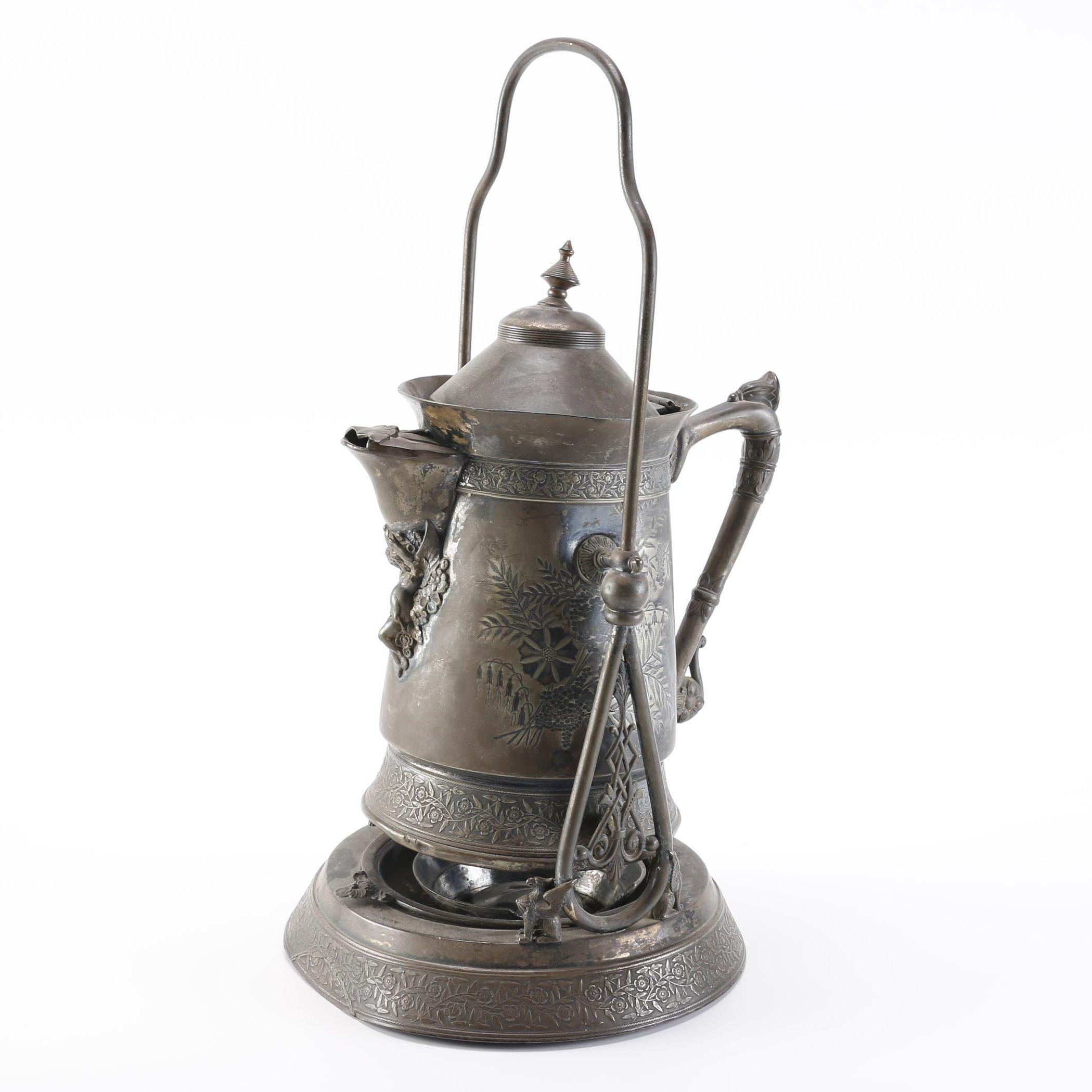 Meriden Silver Plate Tilting Coffee Pot