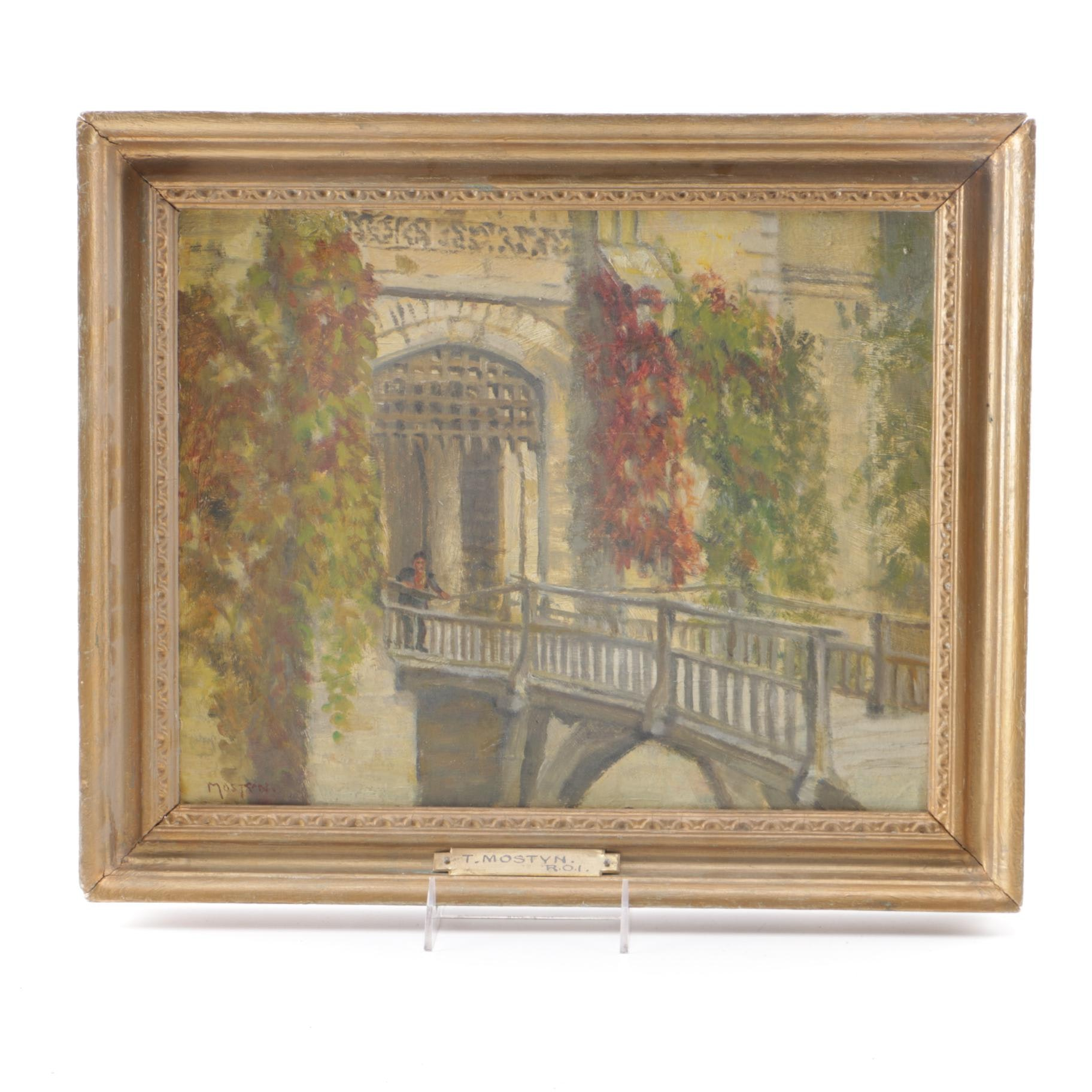 Thomas Mostyn Oil on Board Painting of Figure on Bridge