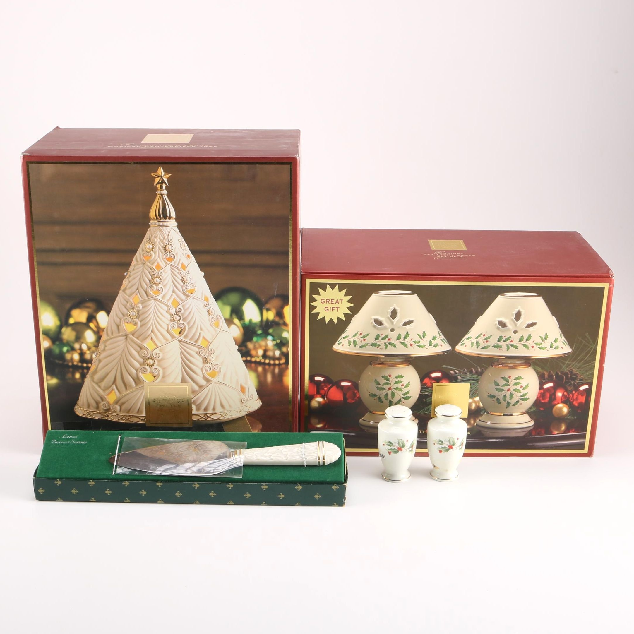 """Lenox """"Florentine & Pearl"""" Musical Christmas Tree and Other Holiday Decor"""