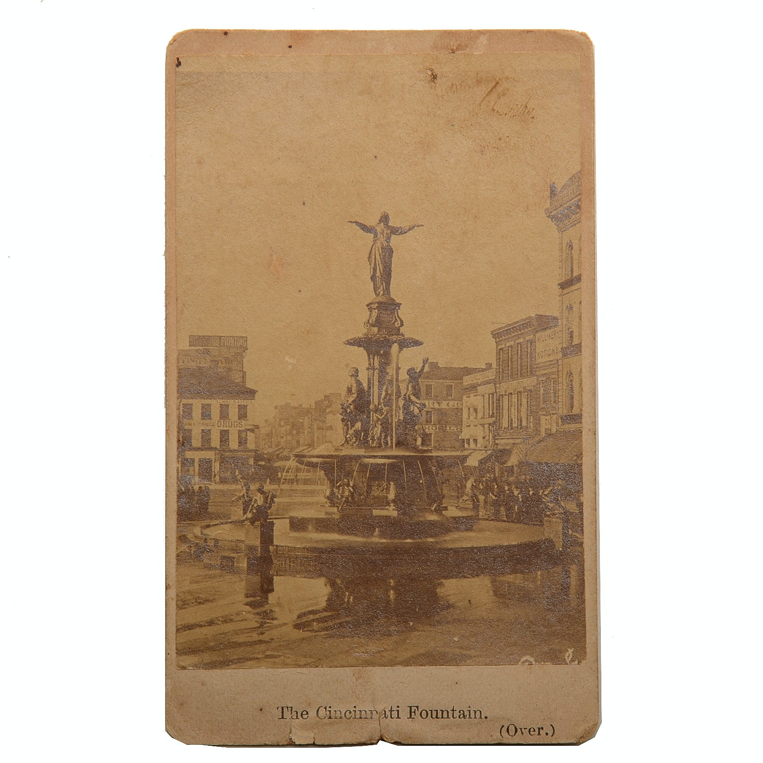 "1871 Carte de Visite Photograph ""Cincinnati Fountain"""