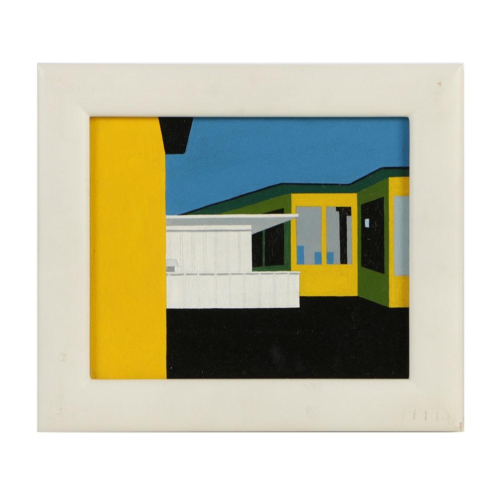 "Robert Herrmann Oil Painting on Paper Board ""Dairy Queen..."""