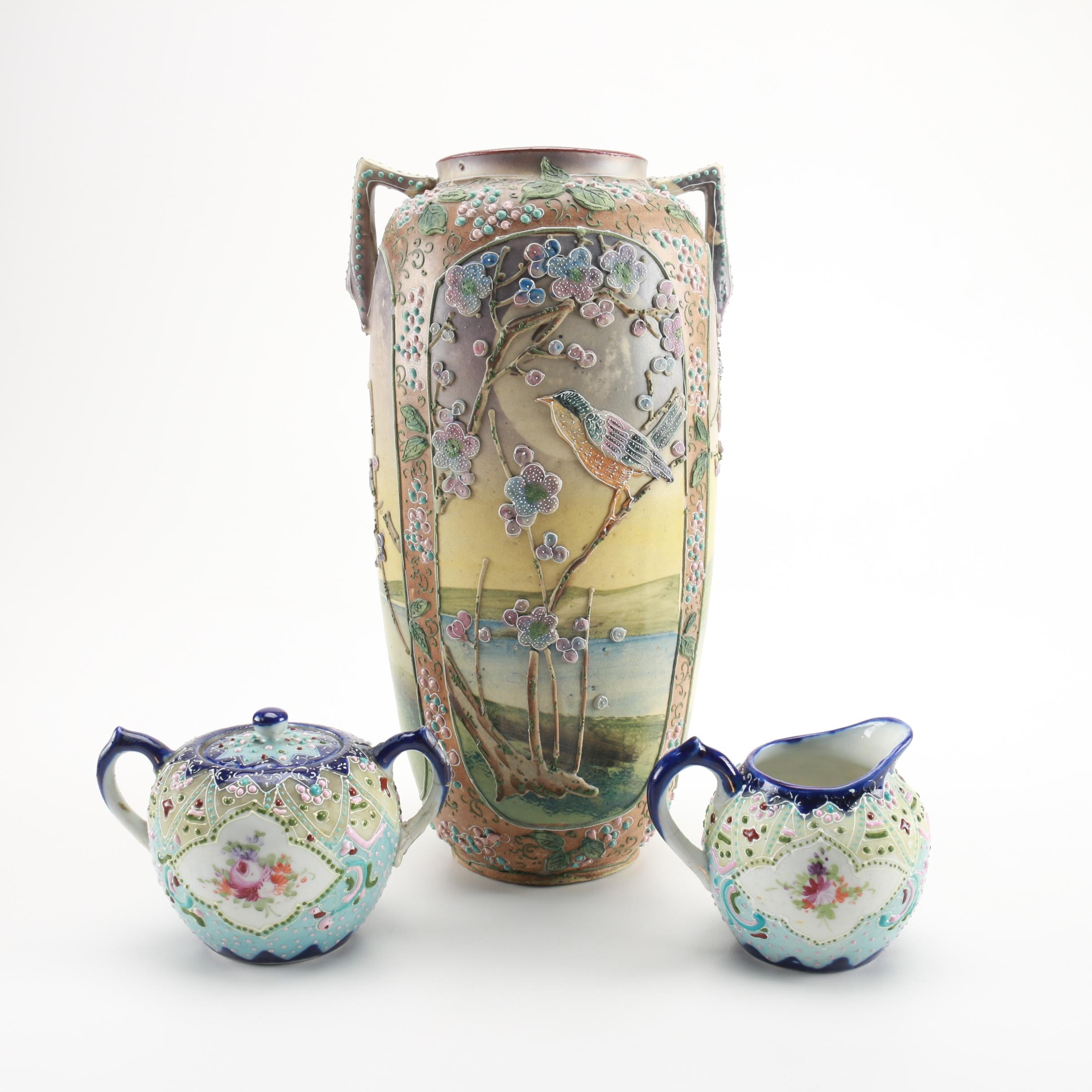 Hand-painted Ceramic Pieces With Moriage Detailing