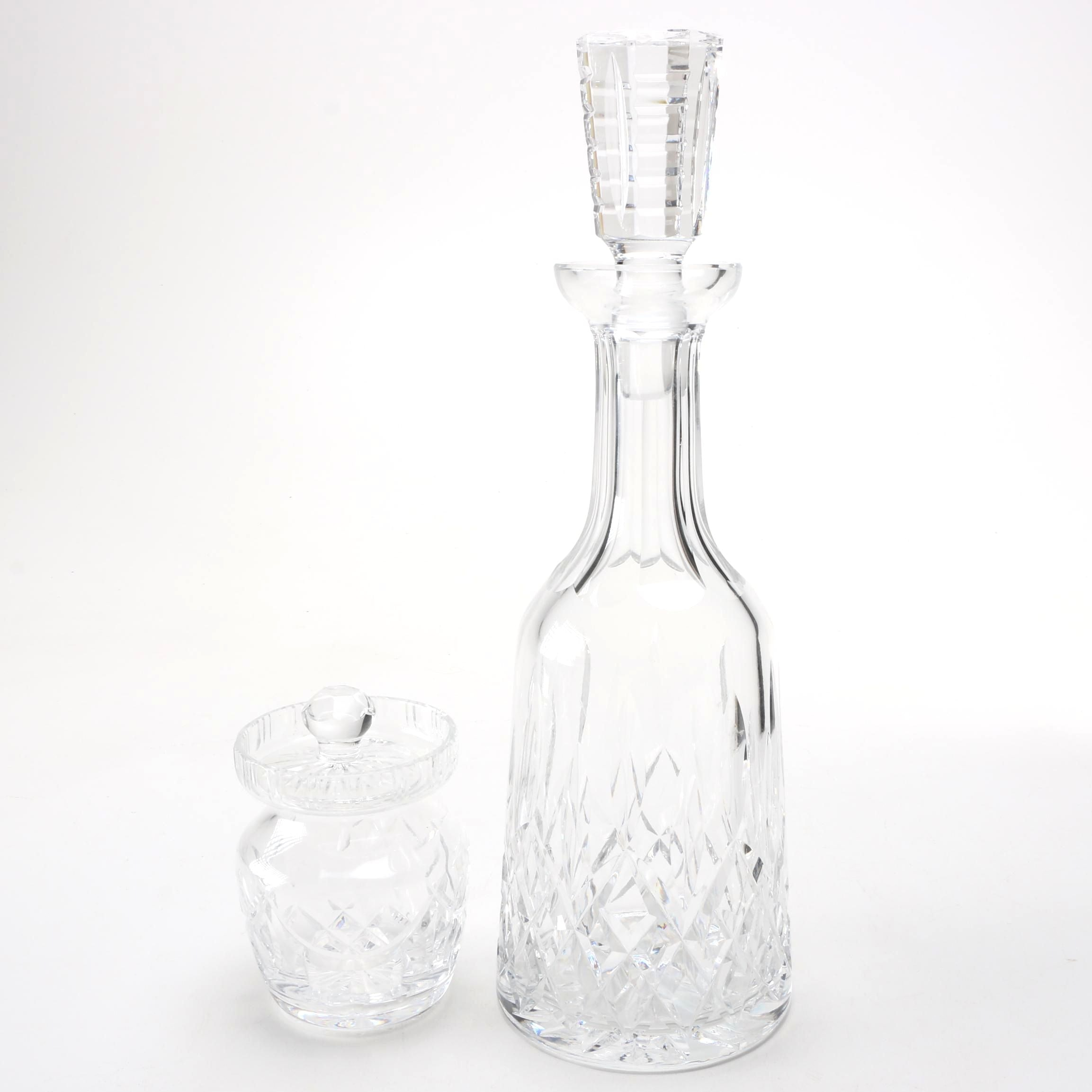 "Waterford ""Lismore"" Crystal Decanter With Jar"
